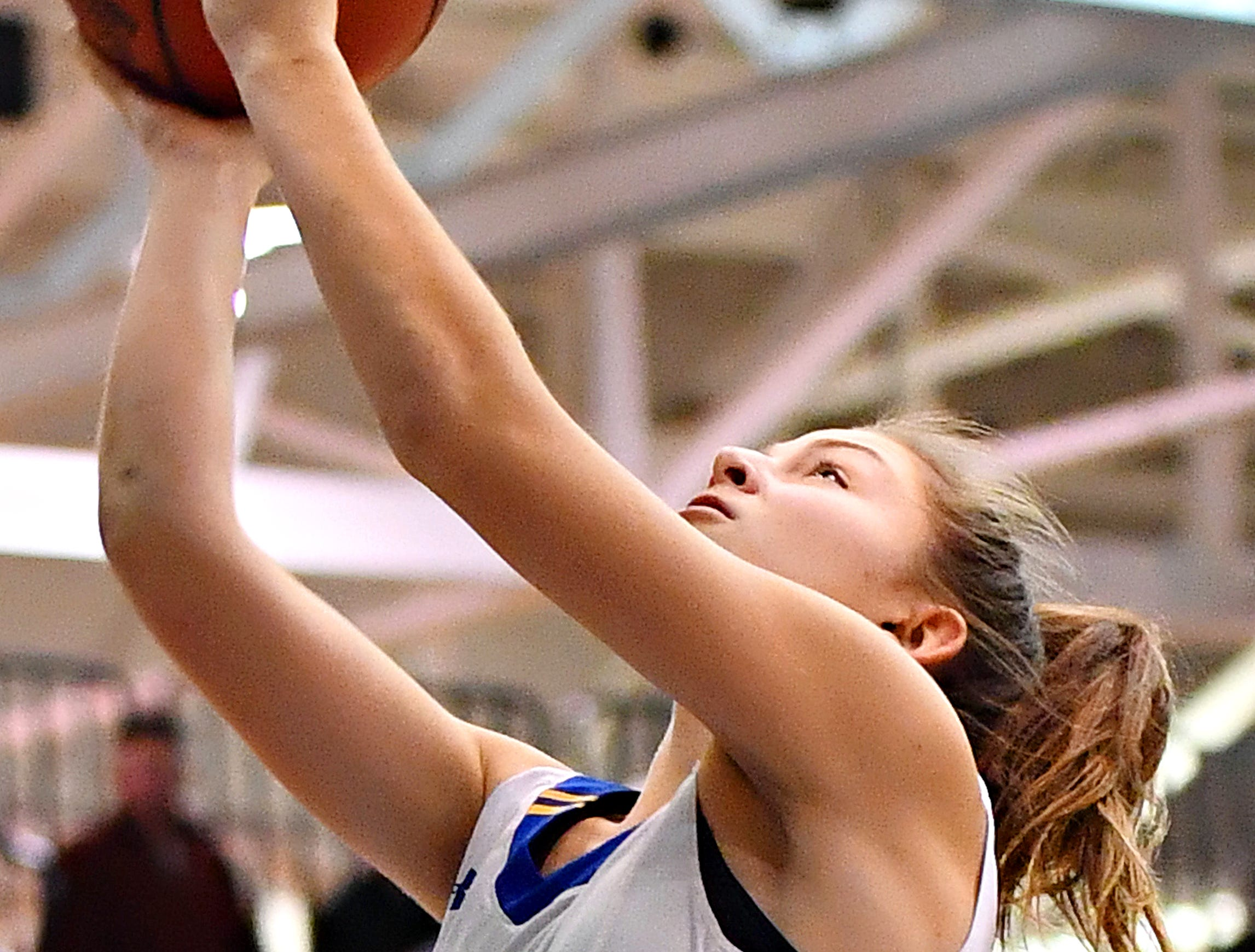 Kennard-Dale's Jaedyn McKeon takes the ball to the basket during York-Adams League girls' basketball quarterfinal action against Spring Grove at Dallastown Area High School in York Township, Friday, Feb. 8, 2019. Spring Grove would win the game 47-38. Dawn J. Sagert photo