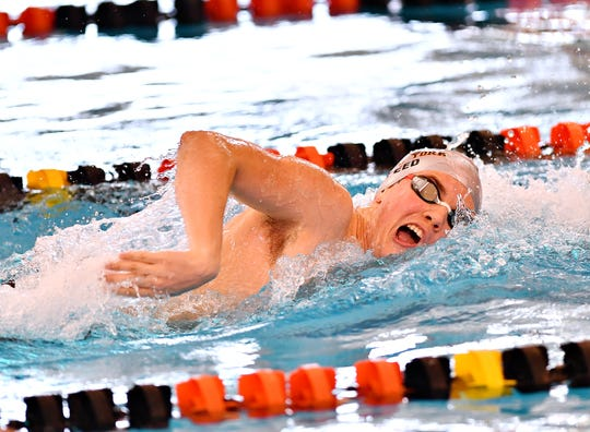 Central York's Cameron Speed wins the 500 freestyle during the York-Adams League Swimming Championships at Central York High School in 2019. Speed returns for the Panthers for the 2019-2020 season.