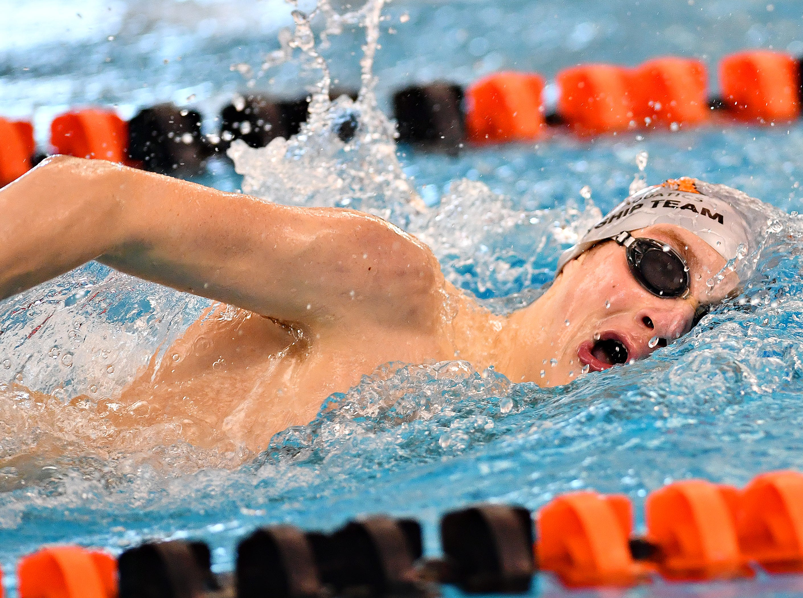 Central York's Ben Hagan competes in the 400 Yard Freestyle Relay event during the York-Adams League Swimming Championship at Central York High School in Springettsbury Township, Saturday, Feb. 9, 2019. Dawn J. Sagert photo