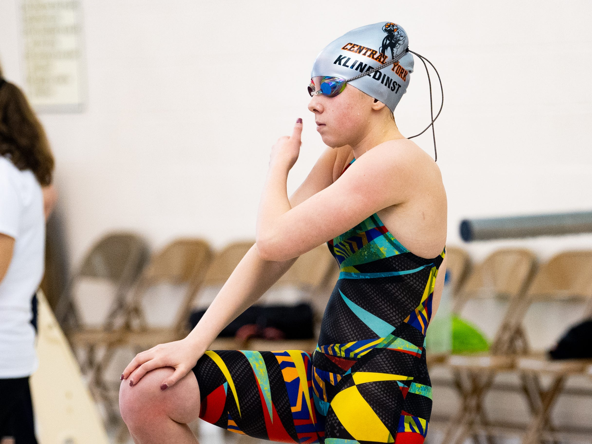 Central York's Molly Klinedinst prepares for the Girls 500 Yard Freestyle during the 2019 YAIAA Swimming and Diving Championships at Central York High School, February 9, 2019.