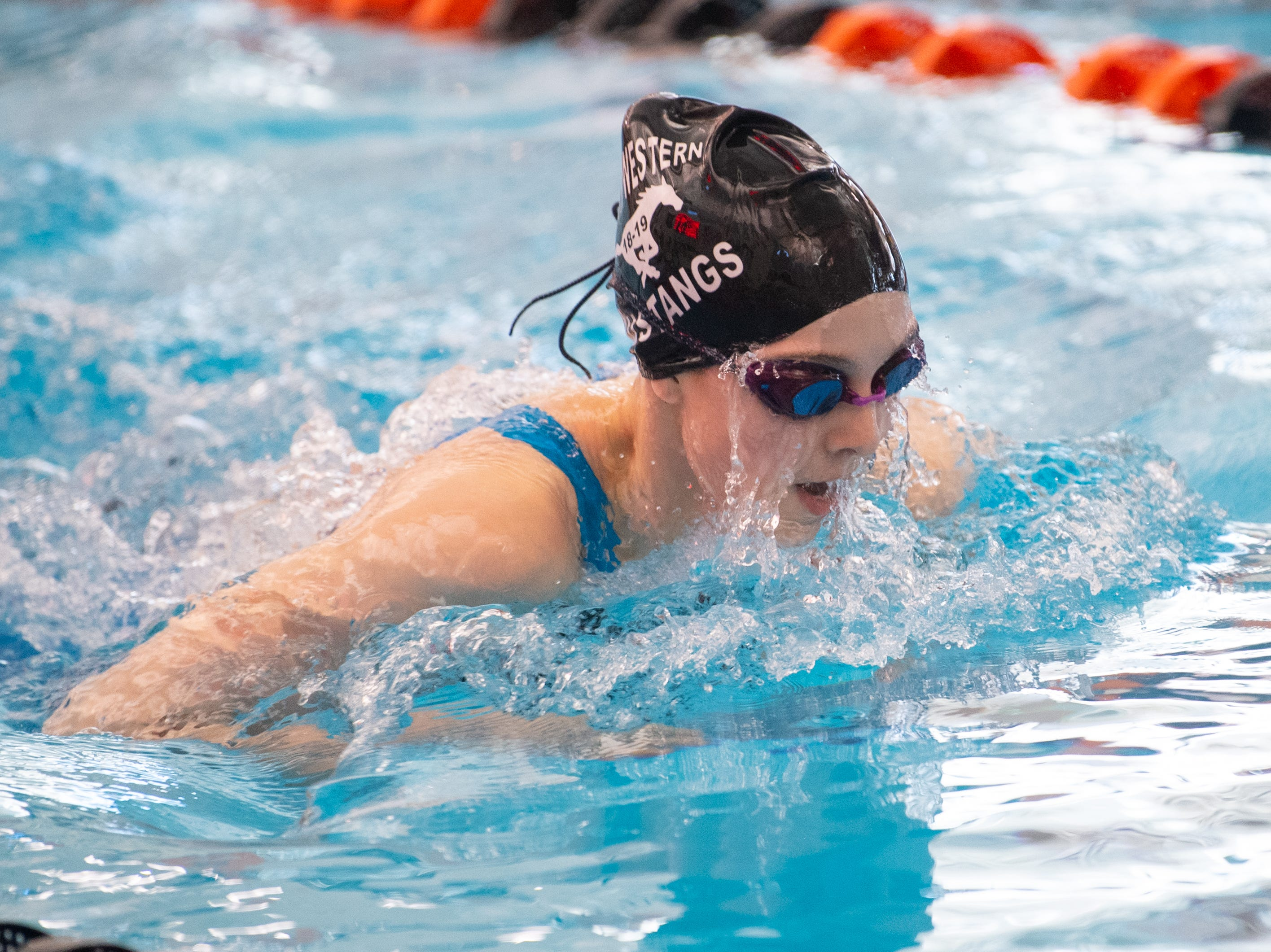 Megan Bish of South Western competes in the Girls 100 Yard Breaststroke during the 2019 YAIAA Swimming and Diving Championships at Central York High School, February 9, 2019.
