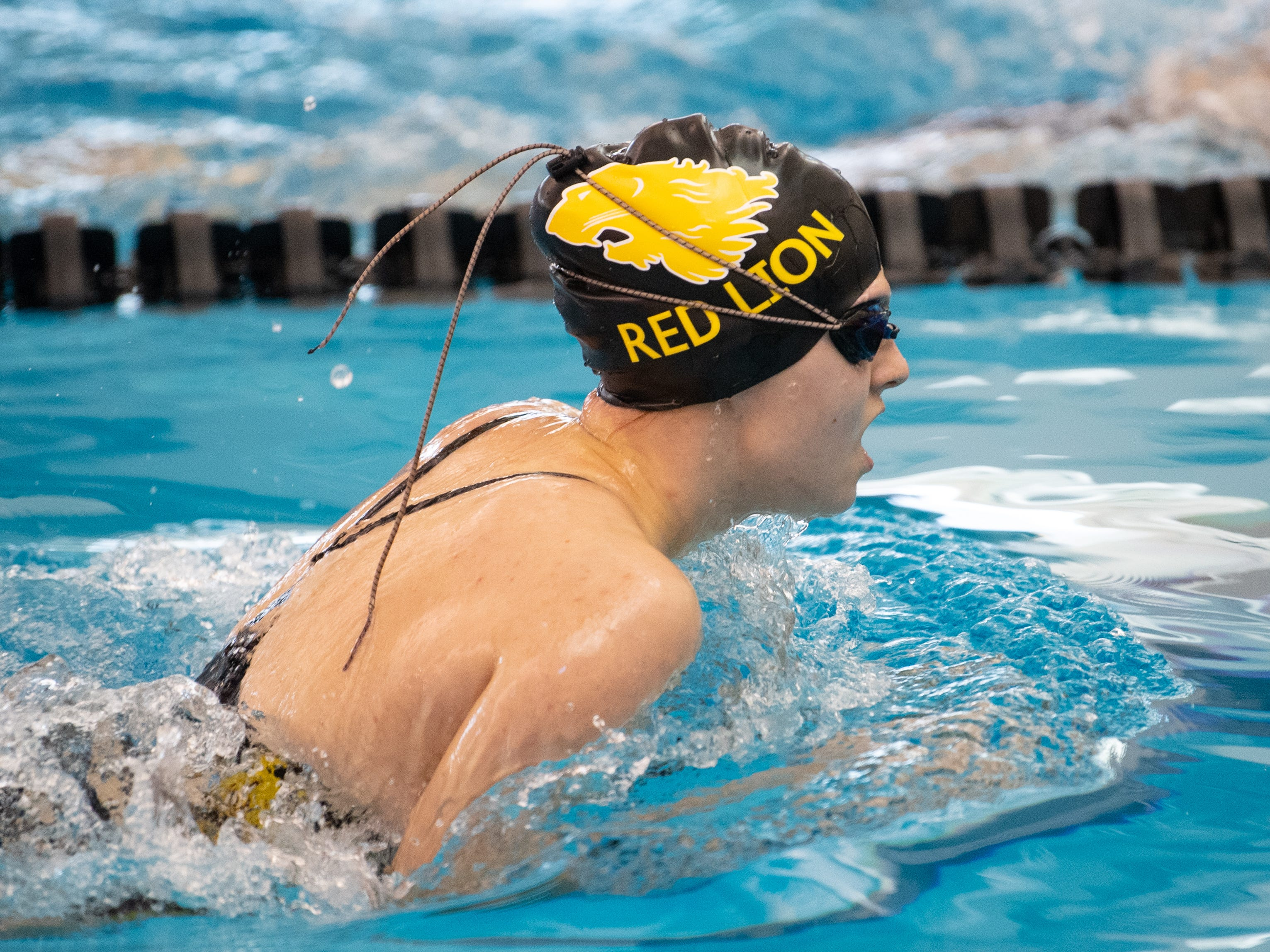 Juliana Lynd of Red Lion competes in the Girls 100 Yard Breaststroke during the 2019 YAIAA Swimming and Diving Championships at Central York High School, February 9, 2019.