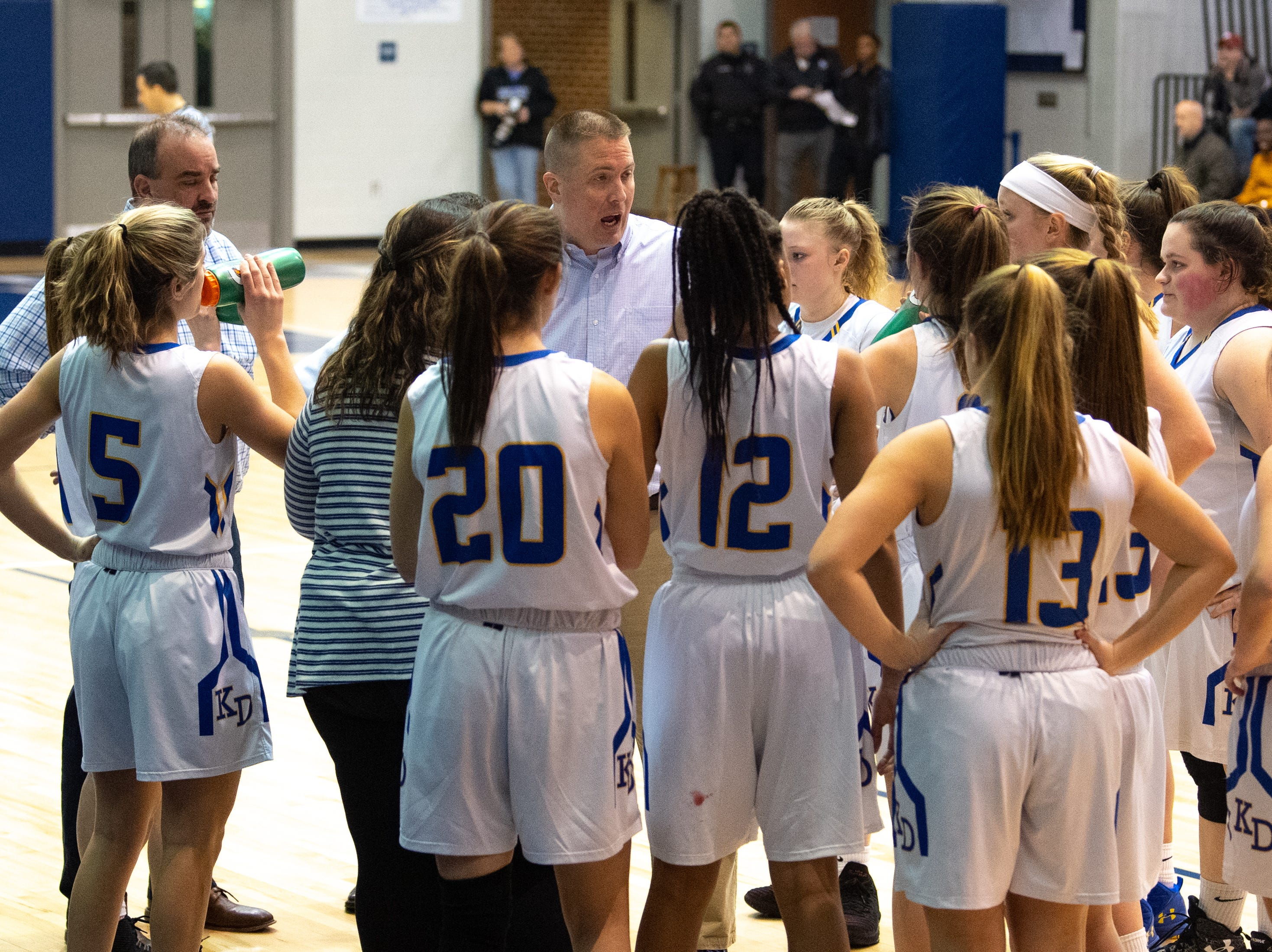 Kennard-Dale talks strategy during the YAIAA girls' basketball quarterfinal game between Spring Grove and Kennard-Dale, February 8, 2019 at Dallastown Area High School. The Rockets defeated the Rams 47 to 38.