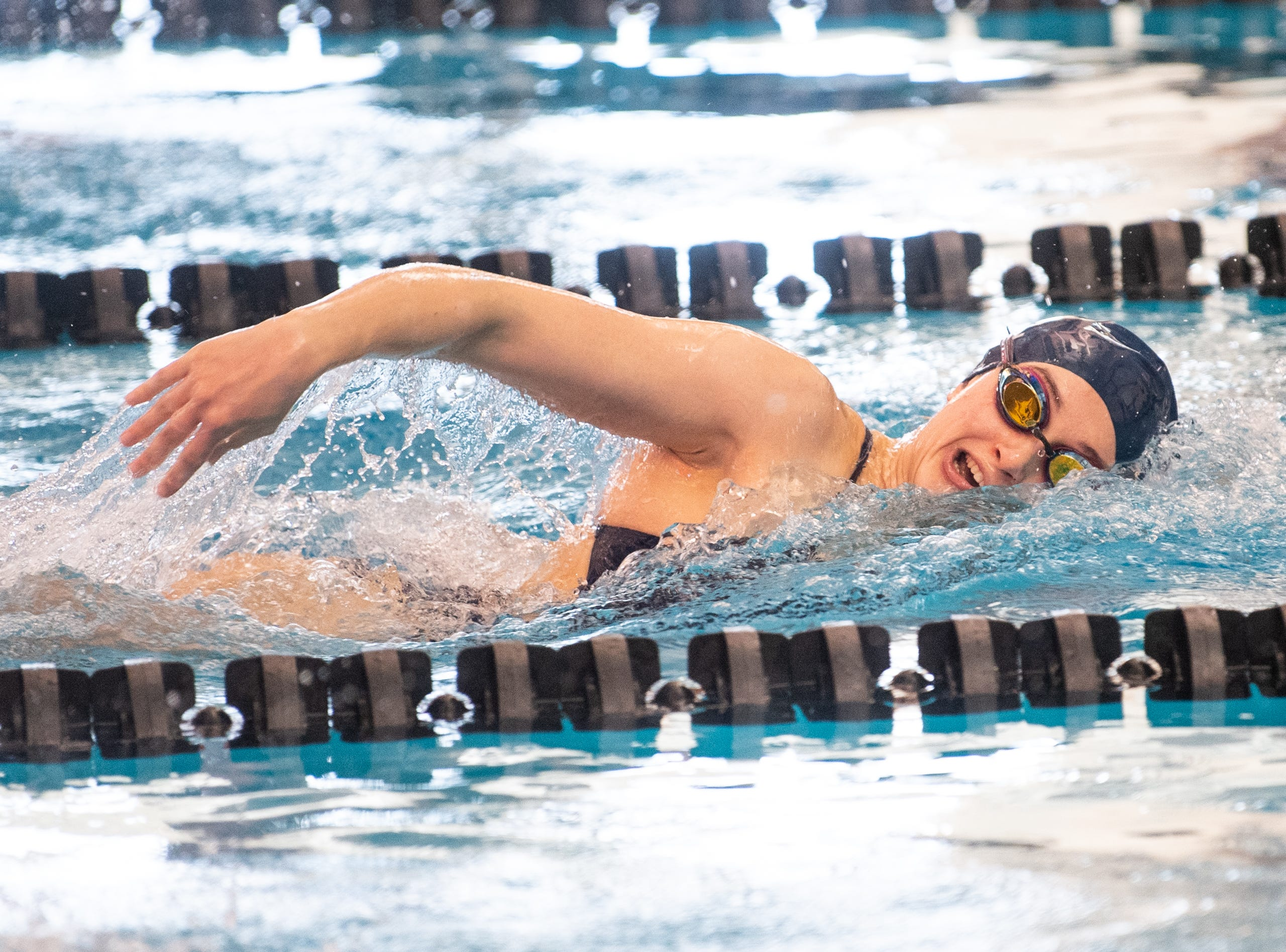 Meghan French of West York leads the pack in the Girls 500 Yard Freestyle during the 2019 YAIAA Swimming and Diving Championships at Central York High School, February 9, 2019.