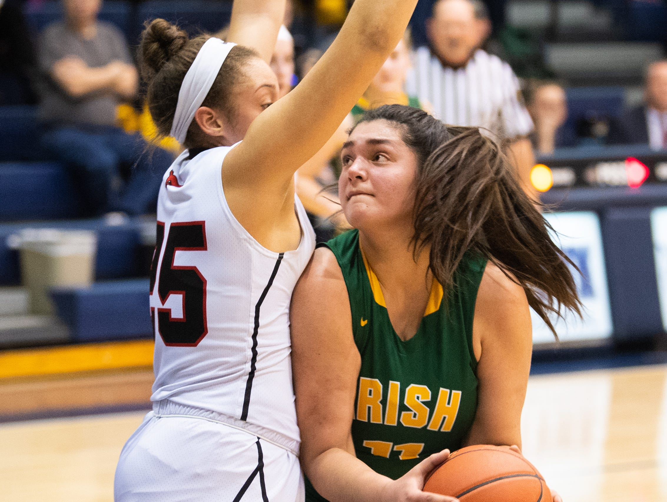 A. St. Rose (25) of Southwestern guards Gabby Coley (11) of York Catholic during the YAIAA girls' basketball quarterfinal game between South Western and York Catholic, February 8, 2019 at Dallastown Area High School. The Mustangs lead the Fighting Irish at halftime 24 to 10.