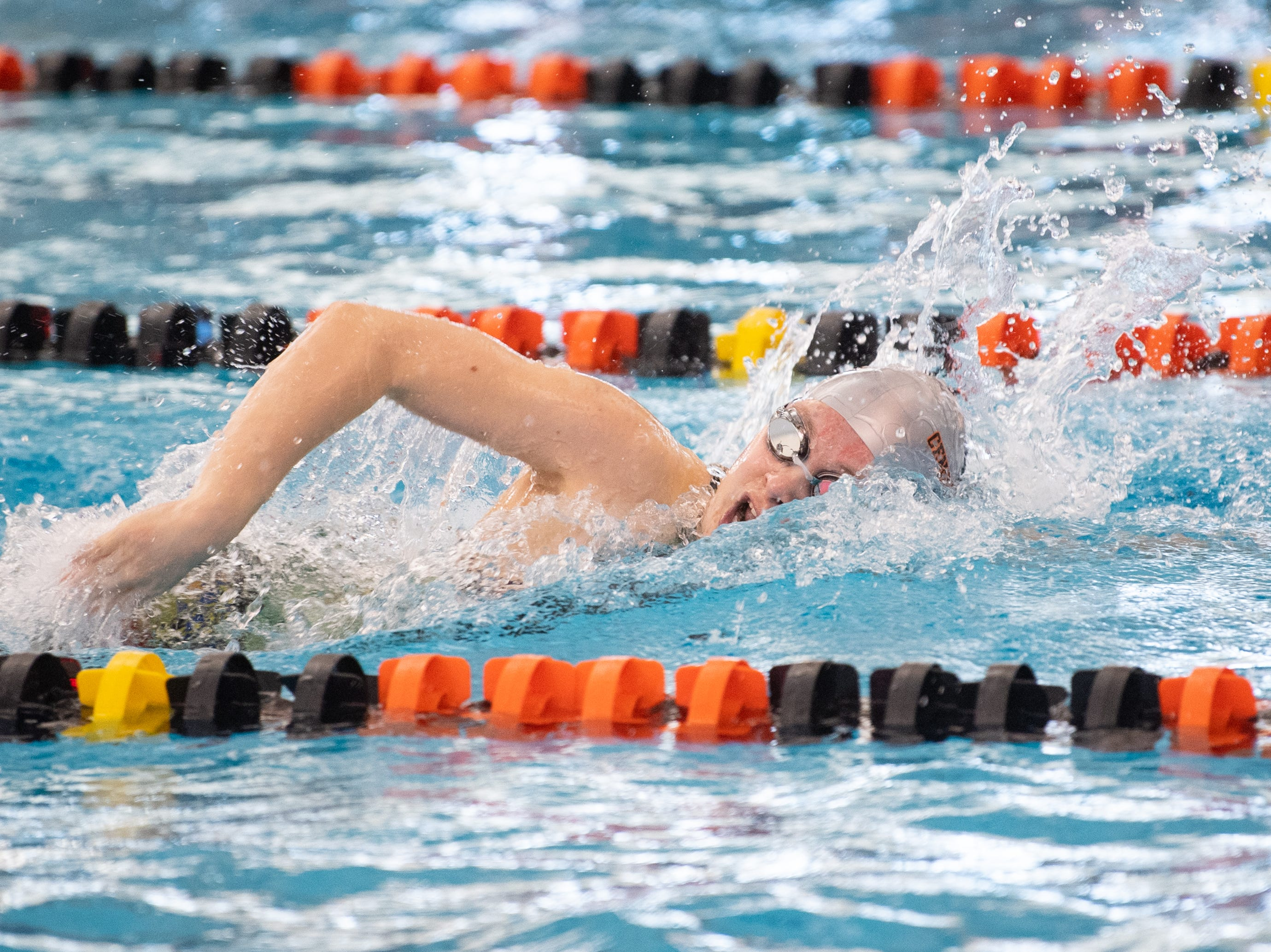 Central York's Gabby Miller competes in the Girls 400 Yard Freestyle Relay at the 2019 YAIAA Swimming and Diving Championships at Central York High School, February 9, 2019.