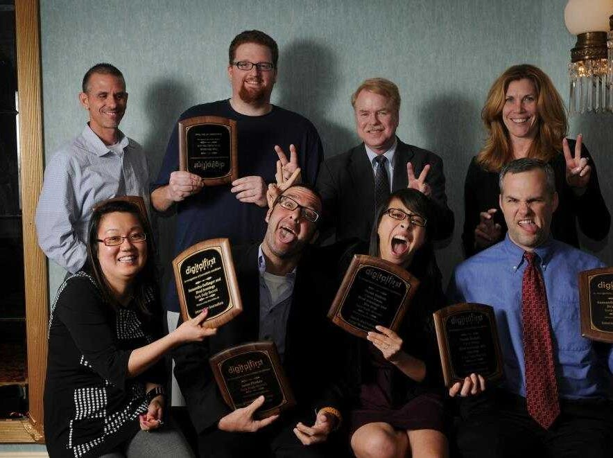 Members of the York Daily Record staff past and present ham it up at an awards gathering several years ago in St. Paul.