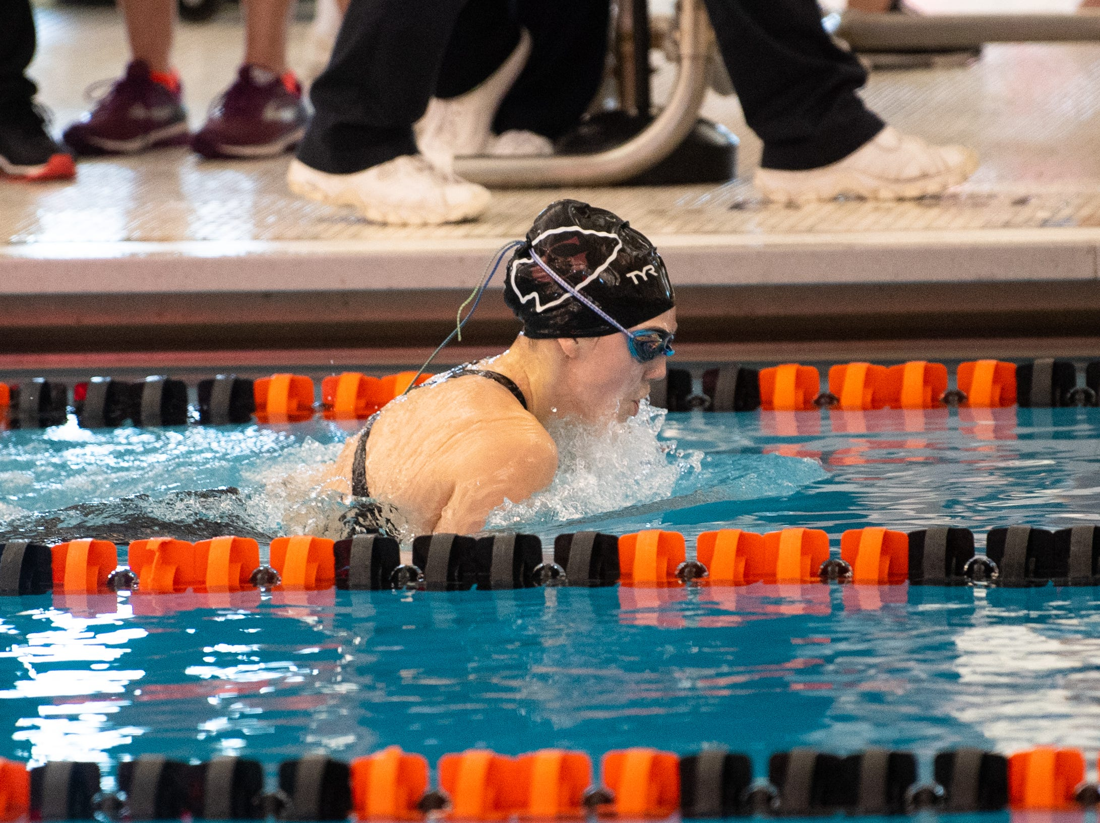 Gettysburg's Katie Ketterman competes in the Girls 100 Yard Breaststroke during the 2019 YAIAA Swimming and Diving Championships at Central York High School, February 9, 2019.