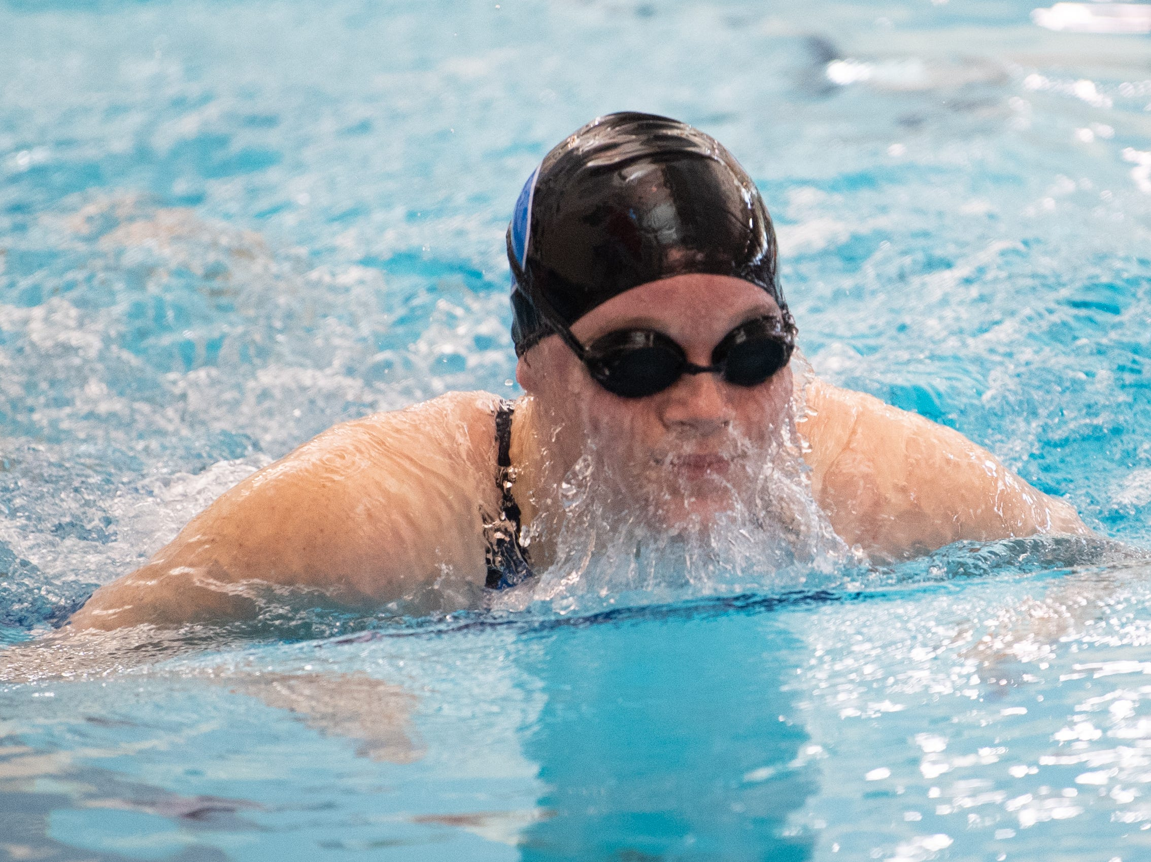 Marissa Locondro of Dallastown competes in the Girls 100 Yard Breaststroke during the 2019 YAIAA Swimming and Diving Championships at Central York High School, February 9, 2019.