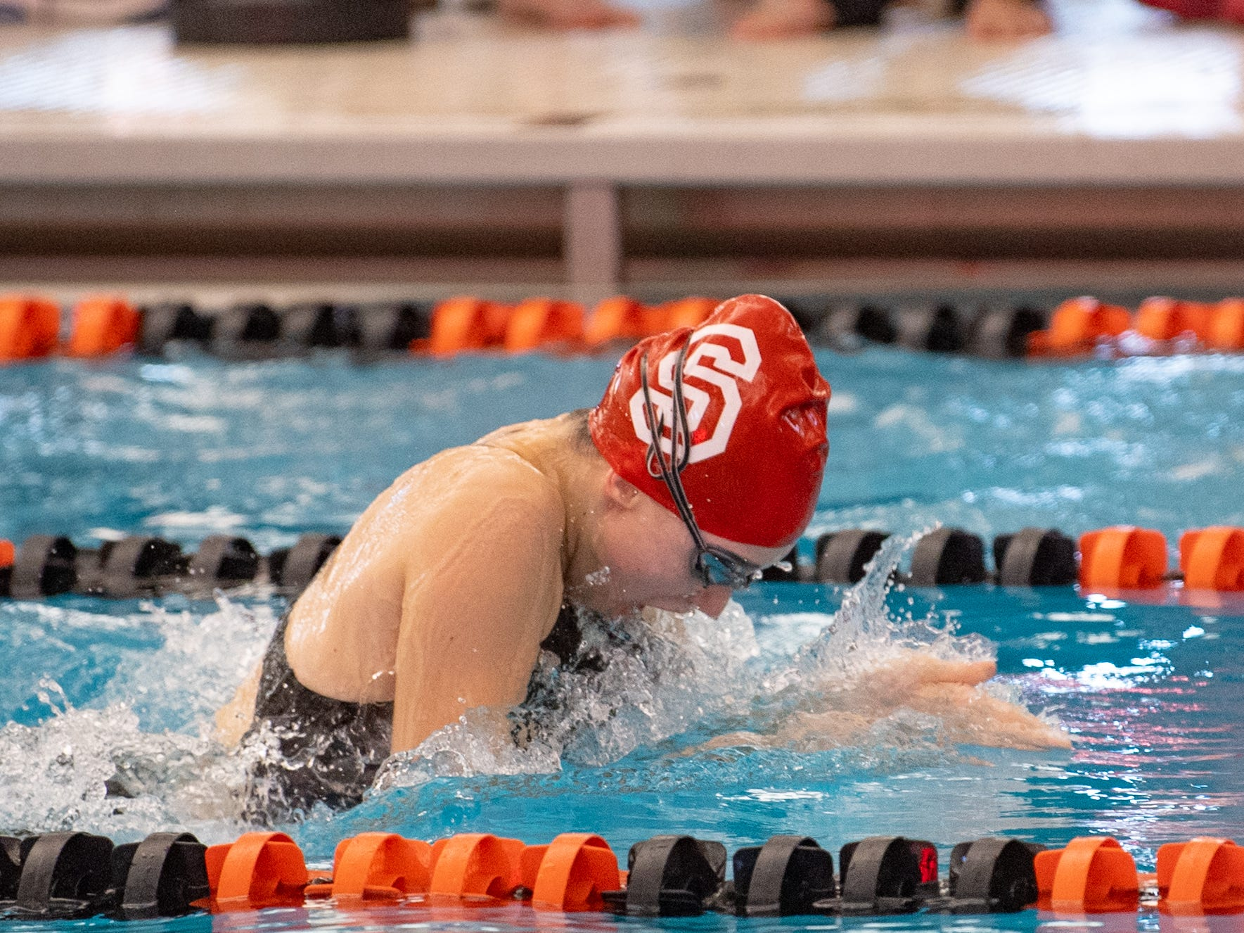 Sophie Leslie of Susquehannock competes in the Girls 100 Yard Breaststroke during the 2019 YAIAA Swimming and Diving Championships at Central York High School, February 9, 2019.