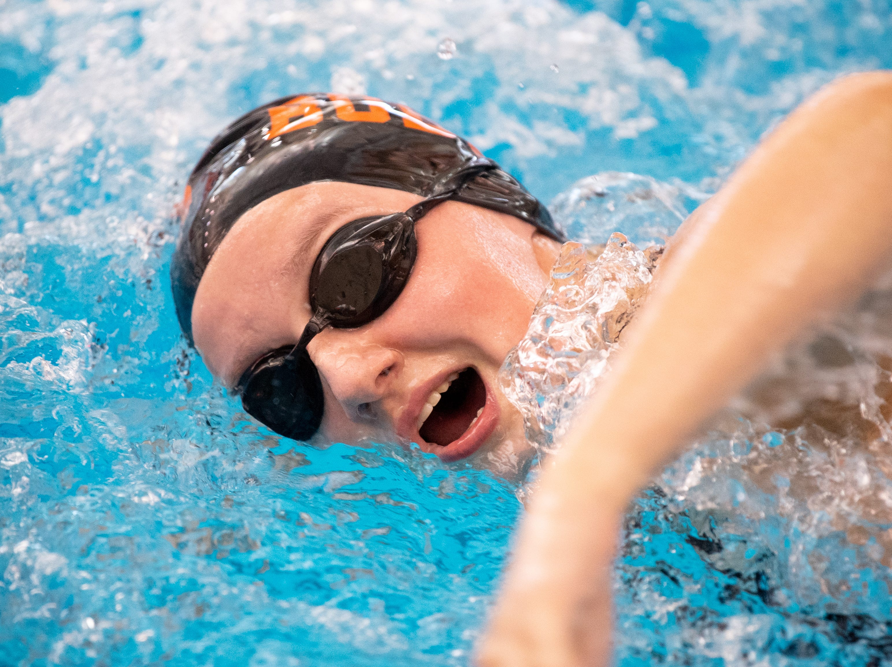 Katie Mummert of Northeastern swims in the Girls 550 Yard Freestyle during the 2019 YAIAA Swimming and Diving Championships at Central York High School, February 9, 2019.