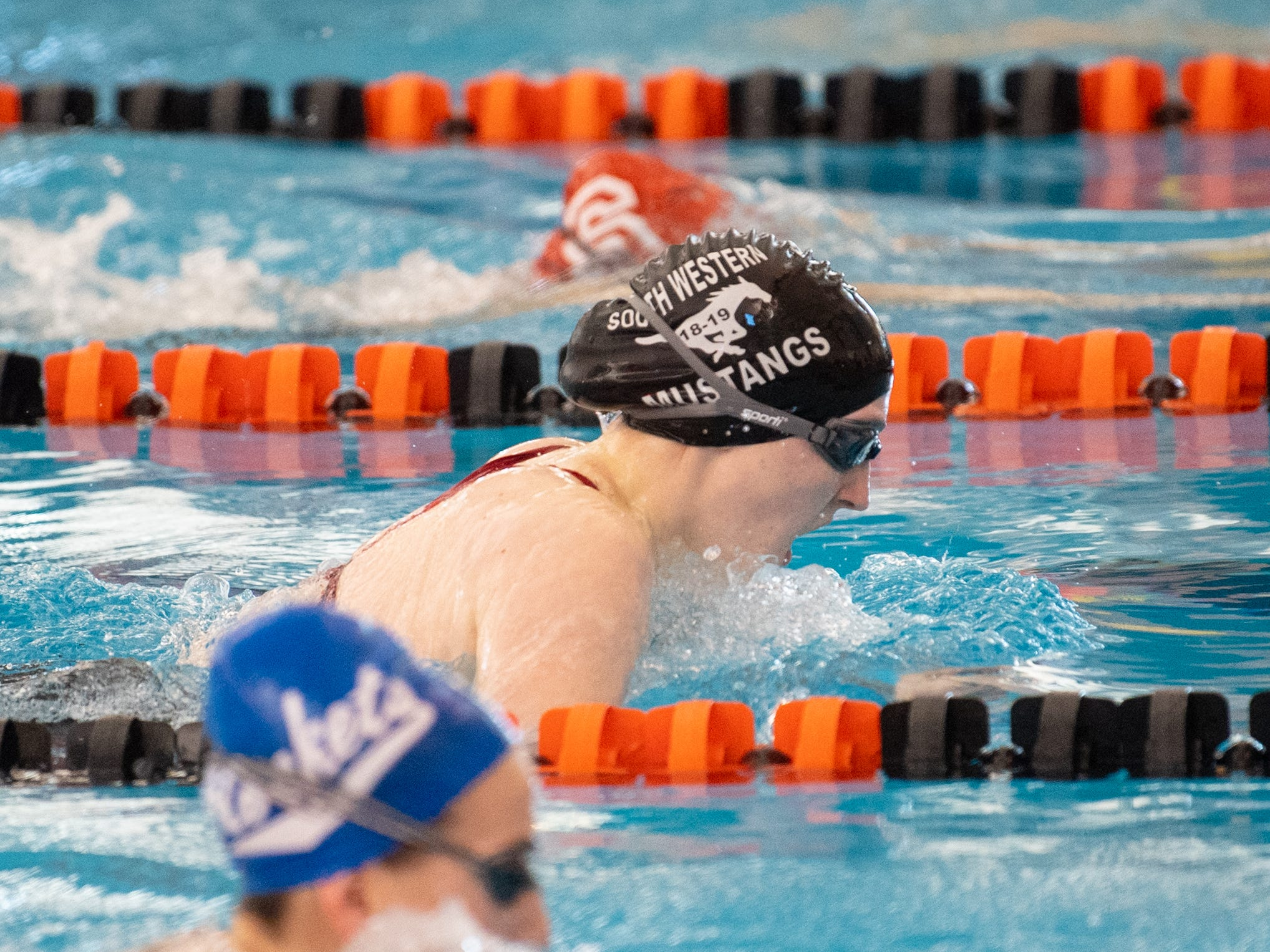 Leah Collins of South Western competes in the Girls 100 Yard Breaststroke during the 2019 YAIAA Swimming and Diving Championships at Central York High School, February 9, 2019.