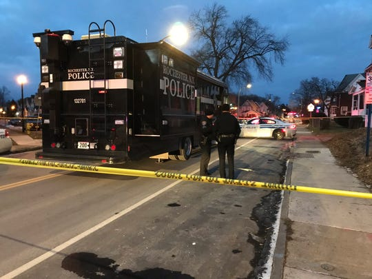 The Rochester Police Department's mobile command unit on scene following a homicide on Webster Avenue on Feb. 9, 2019.