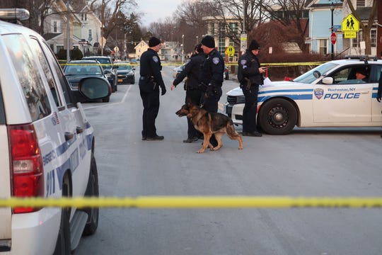 The Rochester Police Department K-9 unit on the scene of a homicide at Webster Avenue and Shafer Street on Feb. 9, 2019.