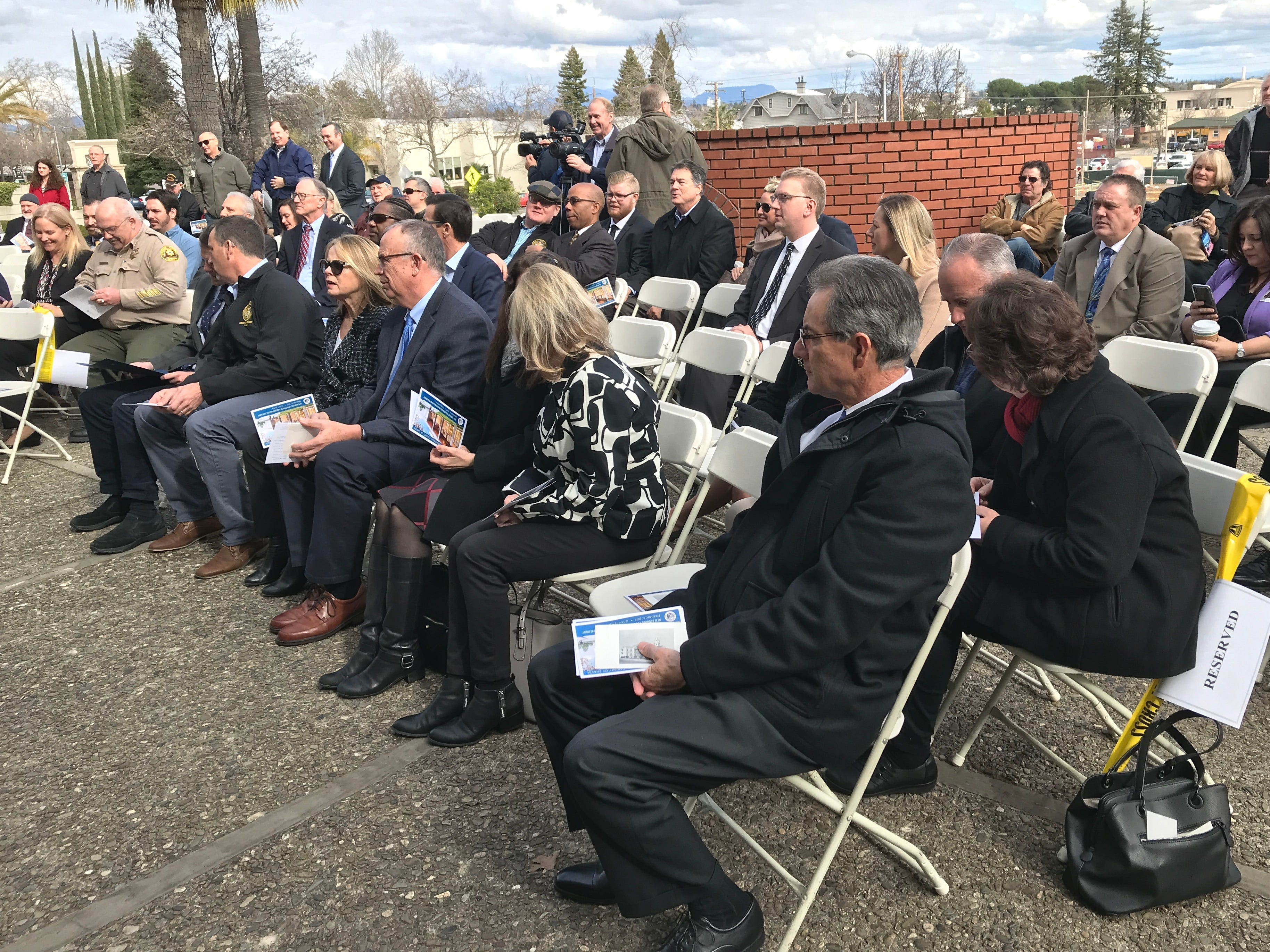 A crowd witnesses the Feb. 8, 2019, groundbreaking for the new Shasta County Courthouse on the front steps of the current courthouse.