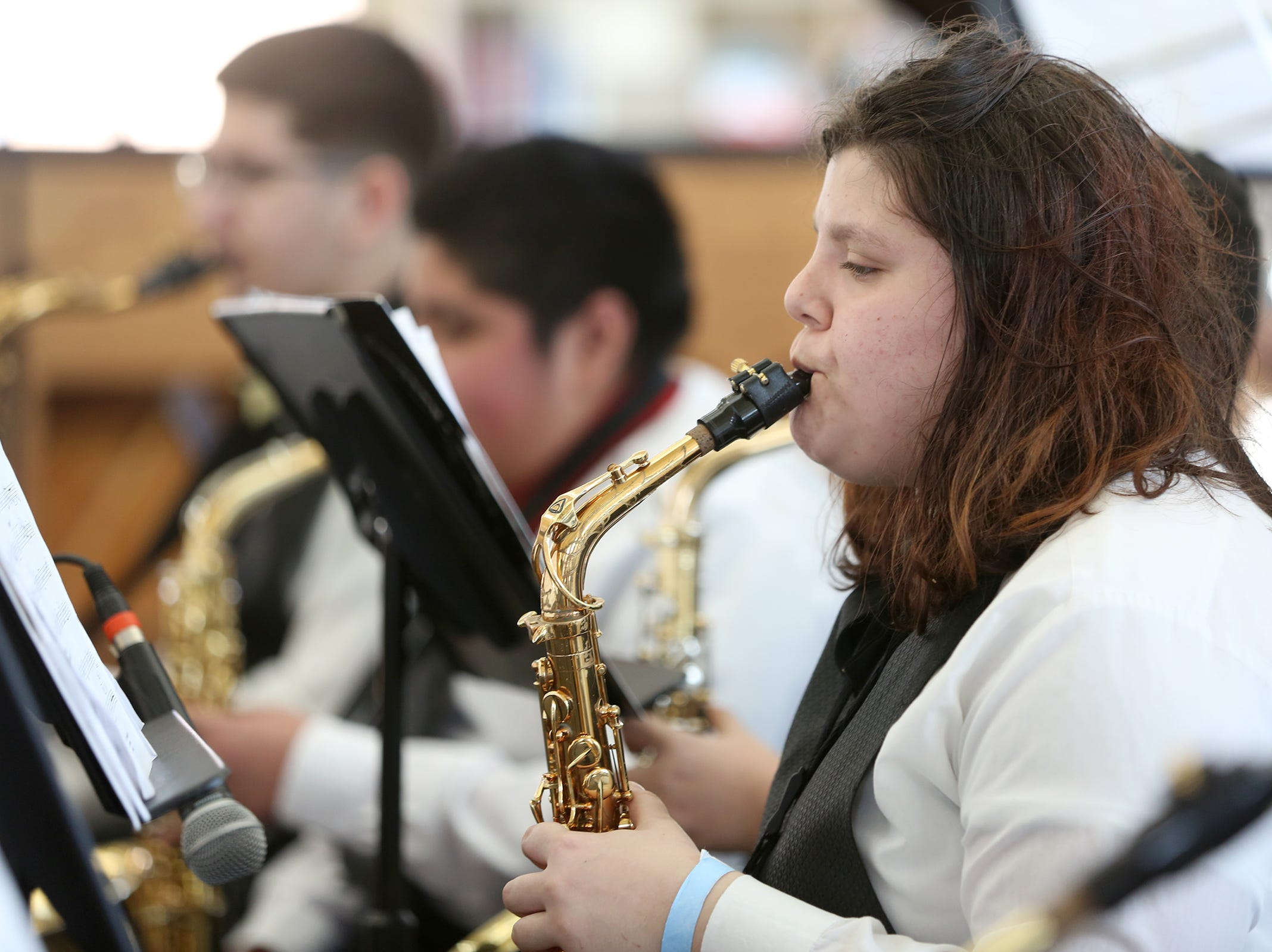 Waldo Middle School students perform at the annual West Salem Jazz Festival at West Salem High School on Saturday, Feb. 9, 2019.