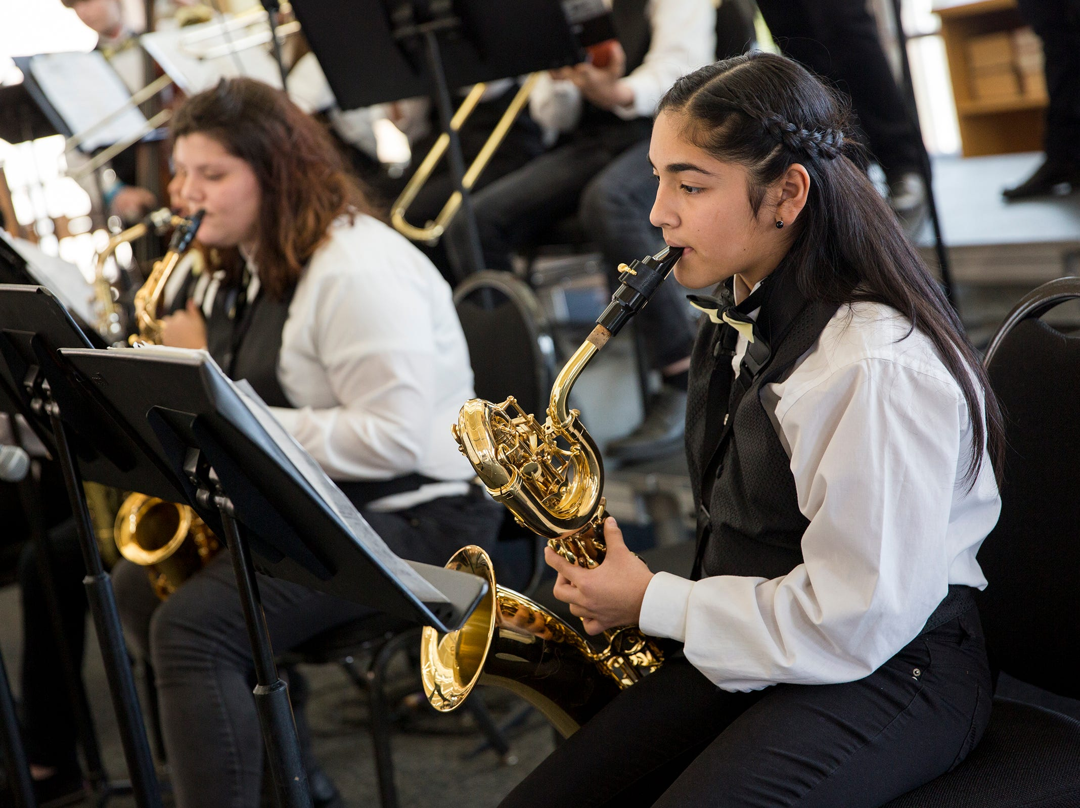 Waldo middle school seventh grade student Valeria Piedra performs at the annual West Salem Jazz Festival at West Salem High School on Saturday, Feb. 9, 2019.