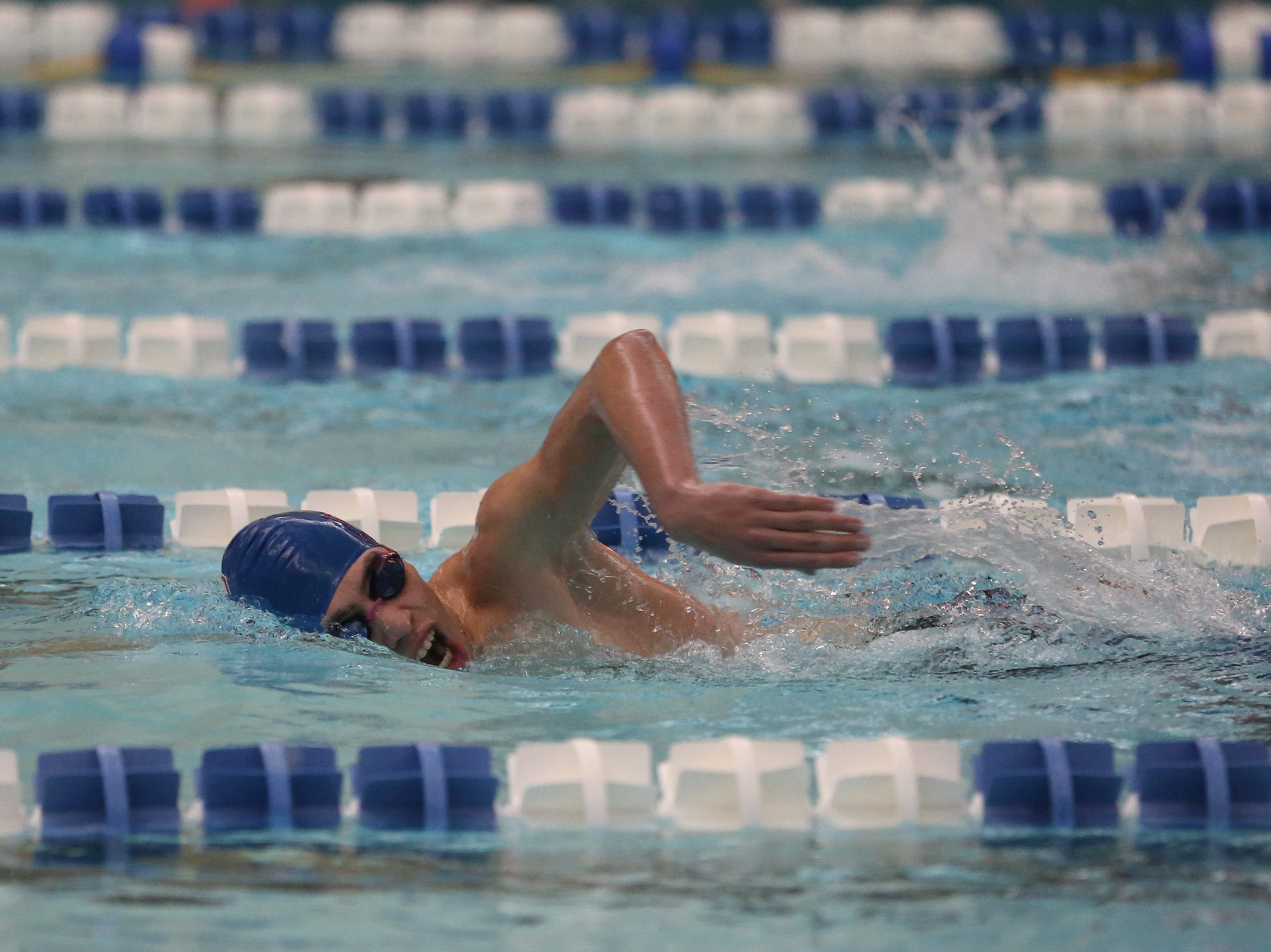 South Salem senior Jordan Creedence competes in the boys 500-yard freestyle at the OSAA 6A Mountain Valley Conference swimming championships at the Kroc Center in Salem, Oregon on Friday, Feb. 8, 2019.