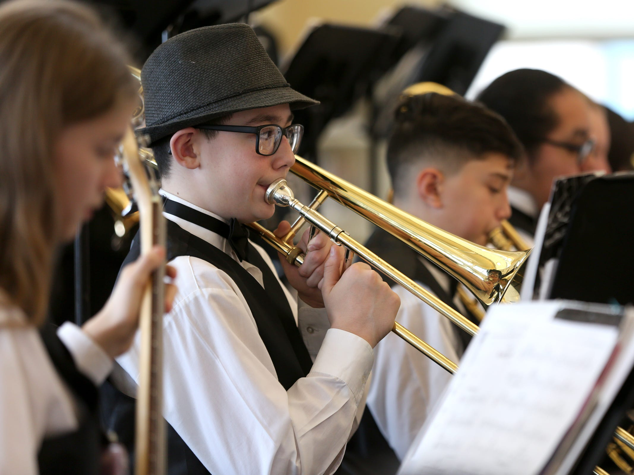 Parish Middle School jazz band students perform at the annual West Salem Jazz Festival at West Salem High School on Saturday, Feb. 9, 2019.