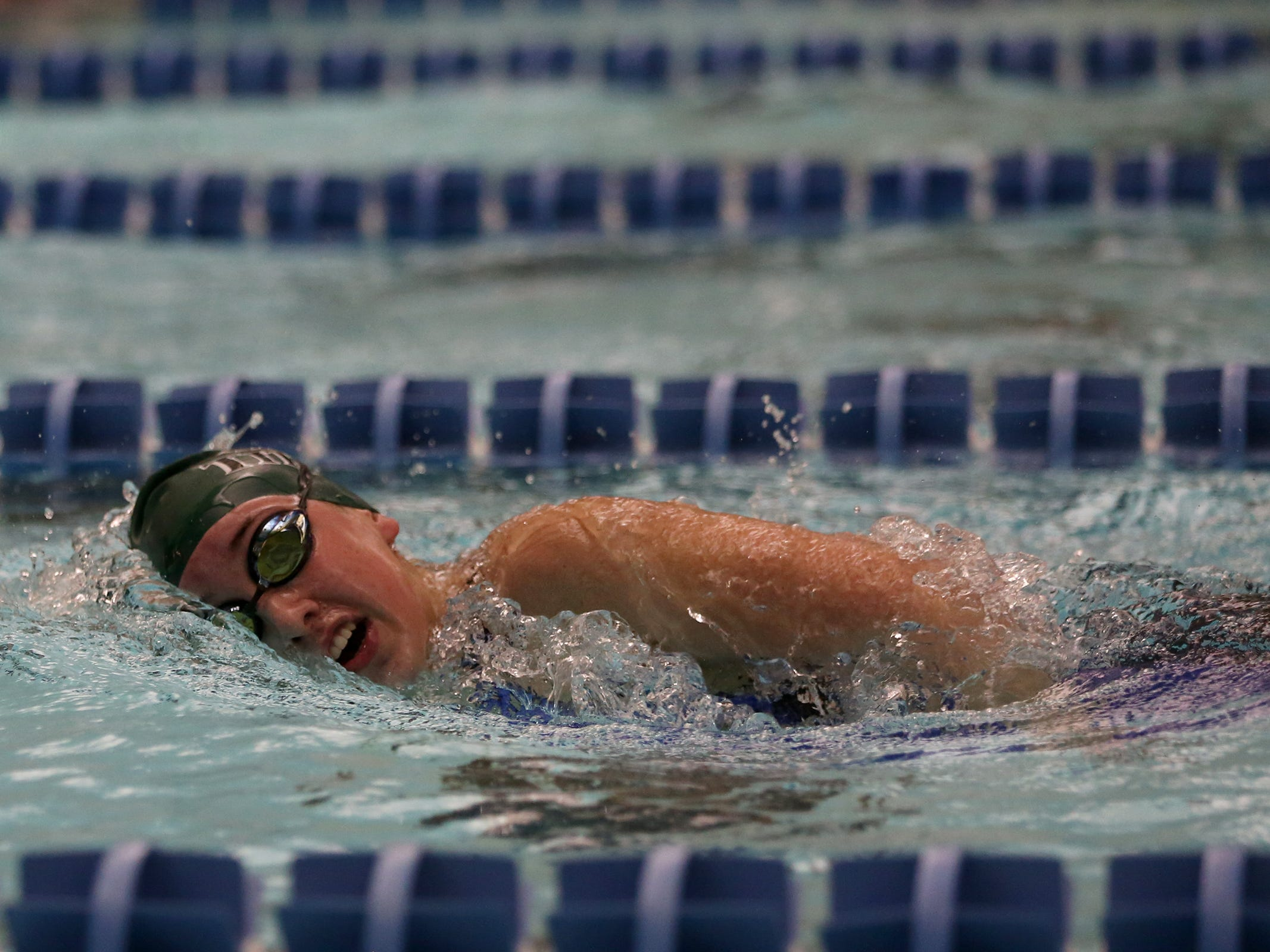 West Salem freshman Paige Anderson competes in the girls 500-yard freestyle at the OSAA 6A Mountain Valley Conference swimming championships at the Kroc Center in Salem, Oregon on Friday, Feb. 8, 2019.