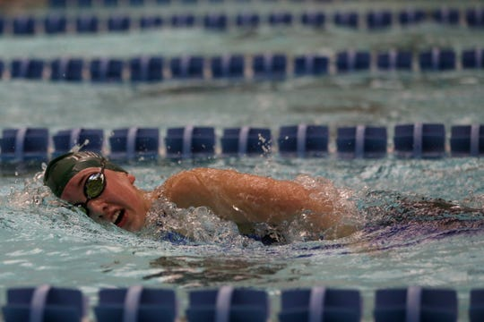 West Salem freshman Paige Anderson competes in the girls 500-yard freestyle at the Mountain Valley Conference swimming championships at the Kroc Center on Friday. Anderson made it to state as part of the West Salem 200-yard freestyle relay team.