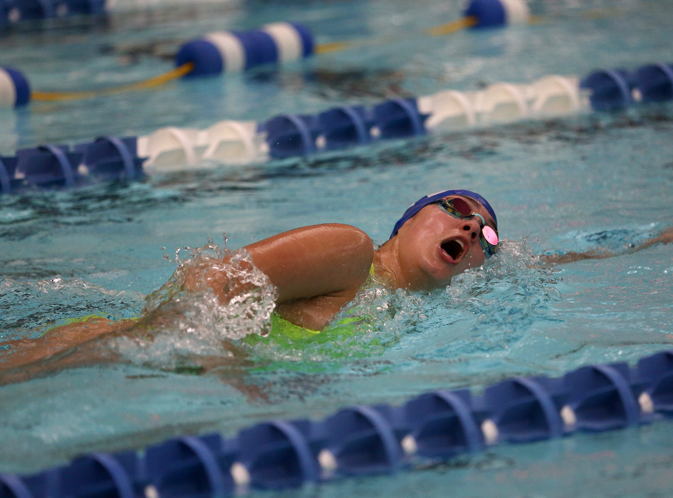 McNary sophomore Kassandra Winters competes in the girls 500-yard freestyle at the OSAA 6A Mountain Valley Conference swimming championships at the Kroc Center in Salem, Oregon on Friday, Feb. 8, 2019.