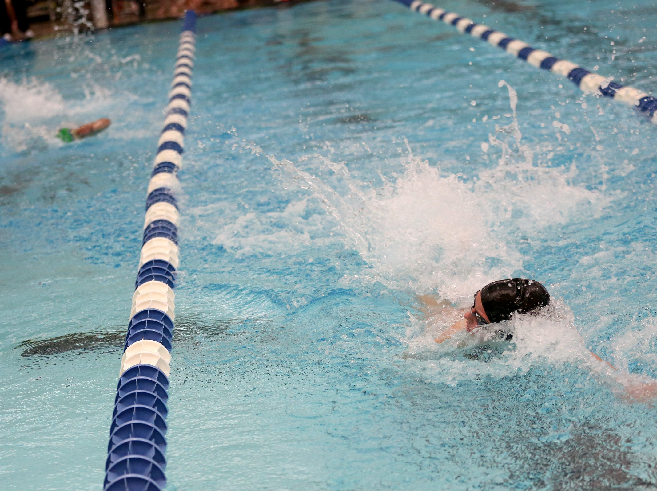 Sprague freshman Caitlin Swanson competes in the girls 50-yard freestyle at the OSAA 6A Mountain Valley Conference swimming championships at the Kroc Center in Salem, Oregon on Friday, Feb. 8, 2019.