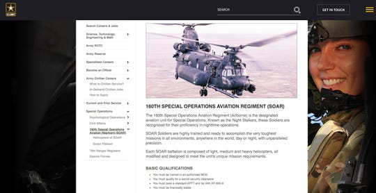 A screen shot from the Army website about the 160th Special Operations Aviation Regiment (SOAR).