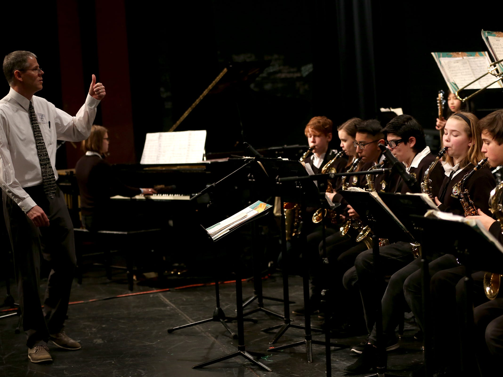 North Albany High School's jazz band, under the direction of Andy Nelson, perform at the annual West Salem Jazz Festival at West Salem High School on Saturday, Feb. 9, 2019.