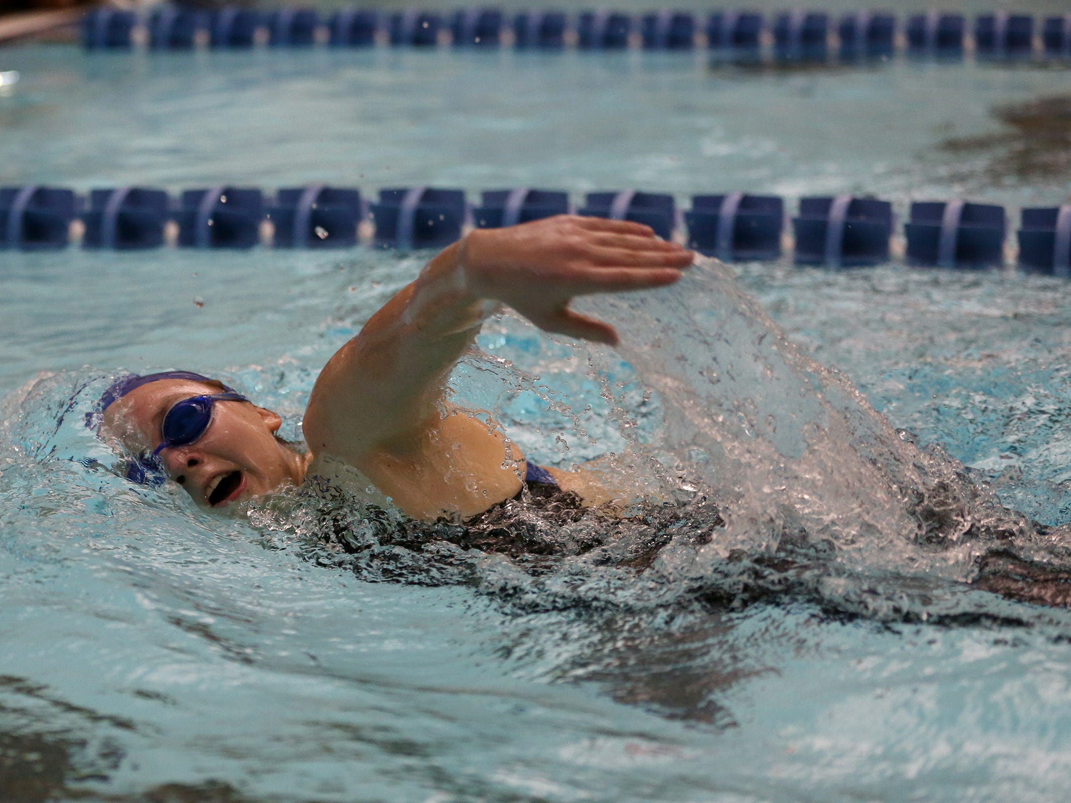 South Salem senior Julia Prange competes in the girls 500-yard freestyle at the OSAA 6A Mountain Valley Conference swimming championships at the Kroc Center in Salem, Oregon on Friday, Feb. 8, 2019.