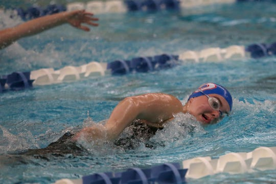 South Salem freshman Olivia Davis competes in the girls 500-yard freestyle at the district championships Friday. Davis will compete this week at the state championships.