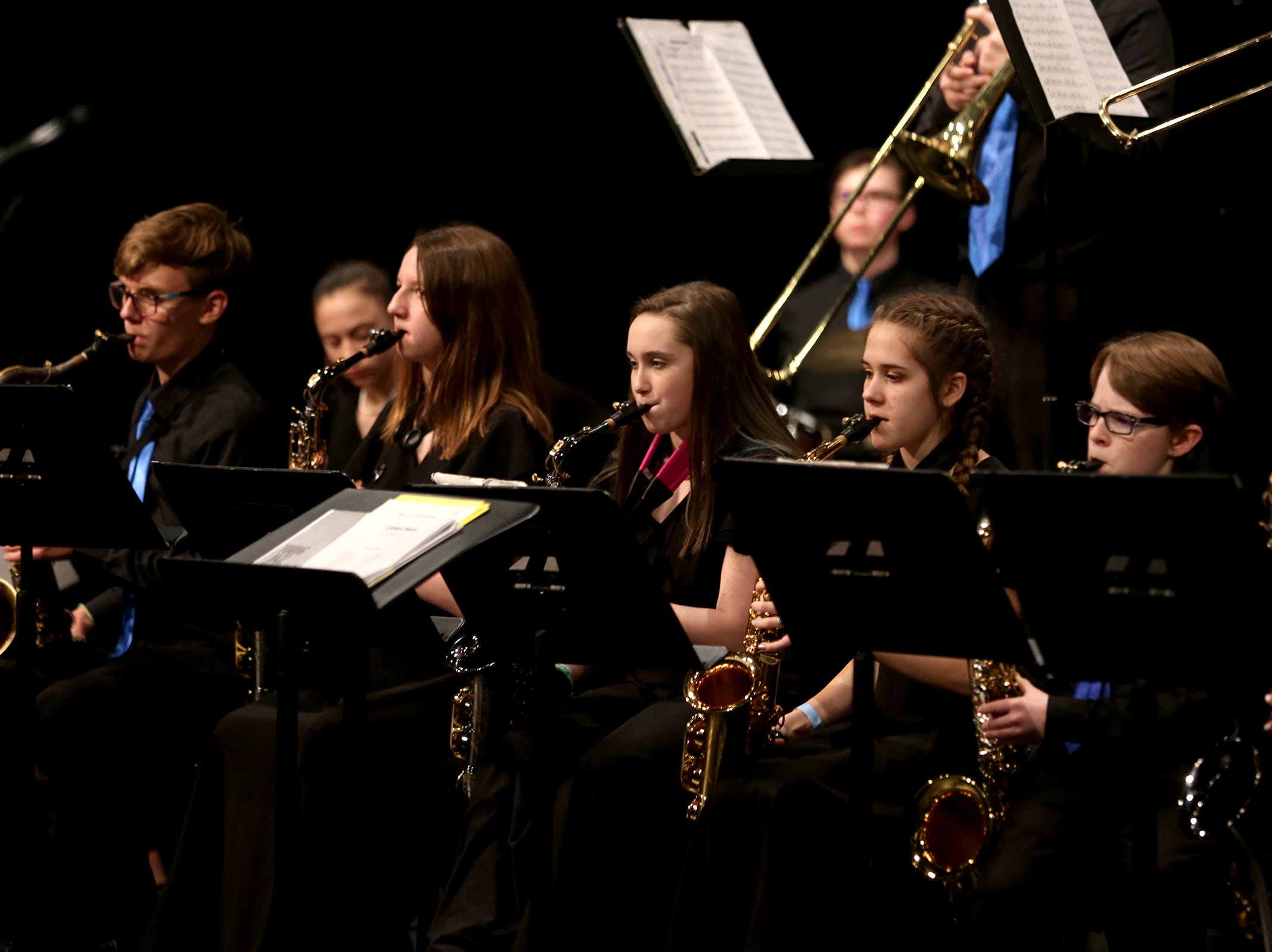 Shasta Middle School students perform at the annual West Salem Jazz Festival at West Salem High School on Saturday, Feb. 9, 2019.