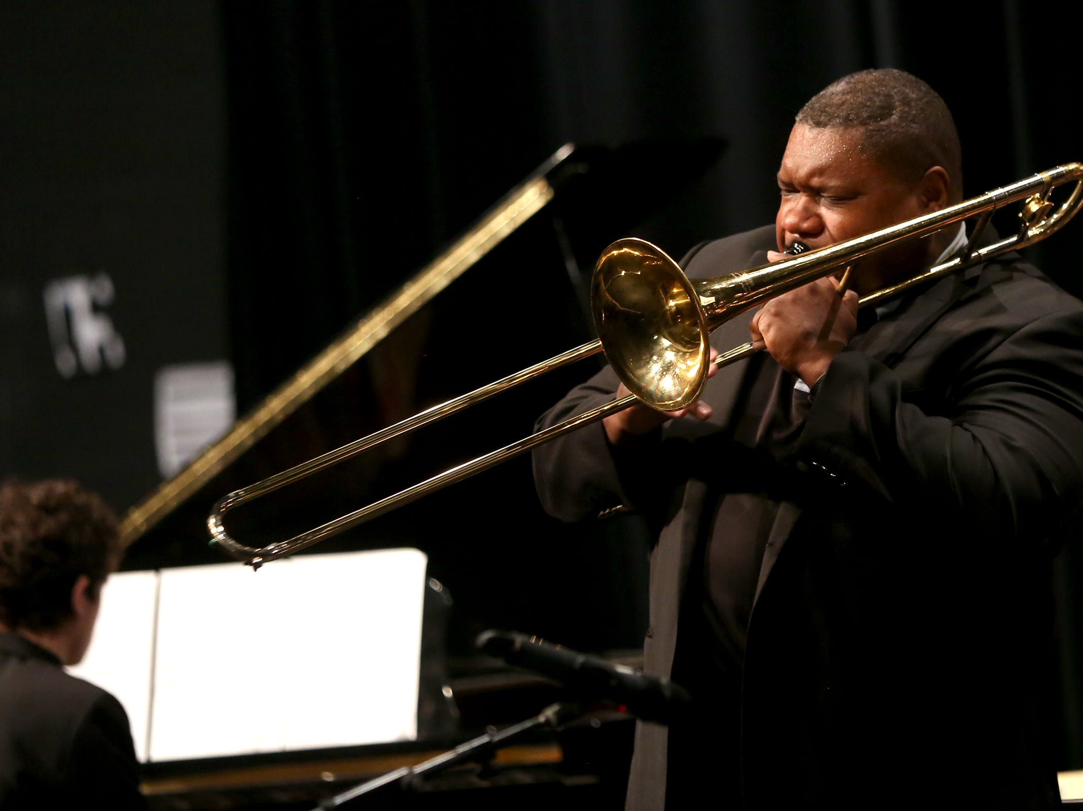 Jazz trombonist Wycliffe A. Gordon performs with West Salem High School students at the annual West Salem Jazz Festival at West Salem High School on Saturday, Feb. 9, 2019.