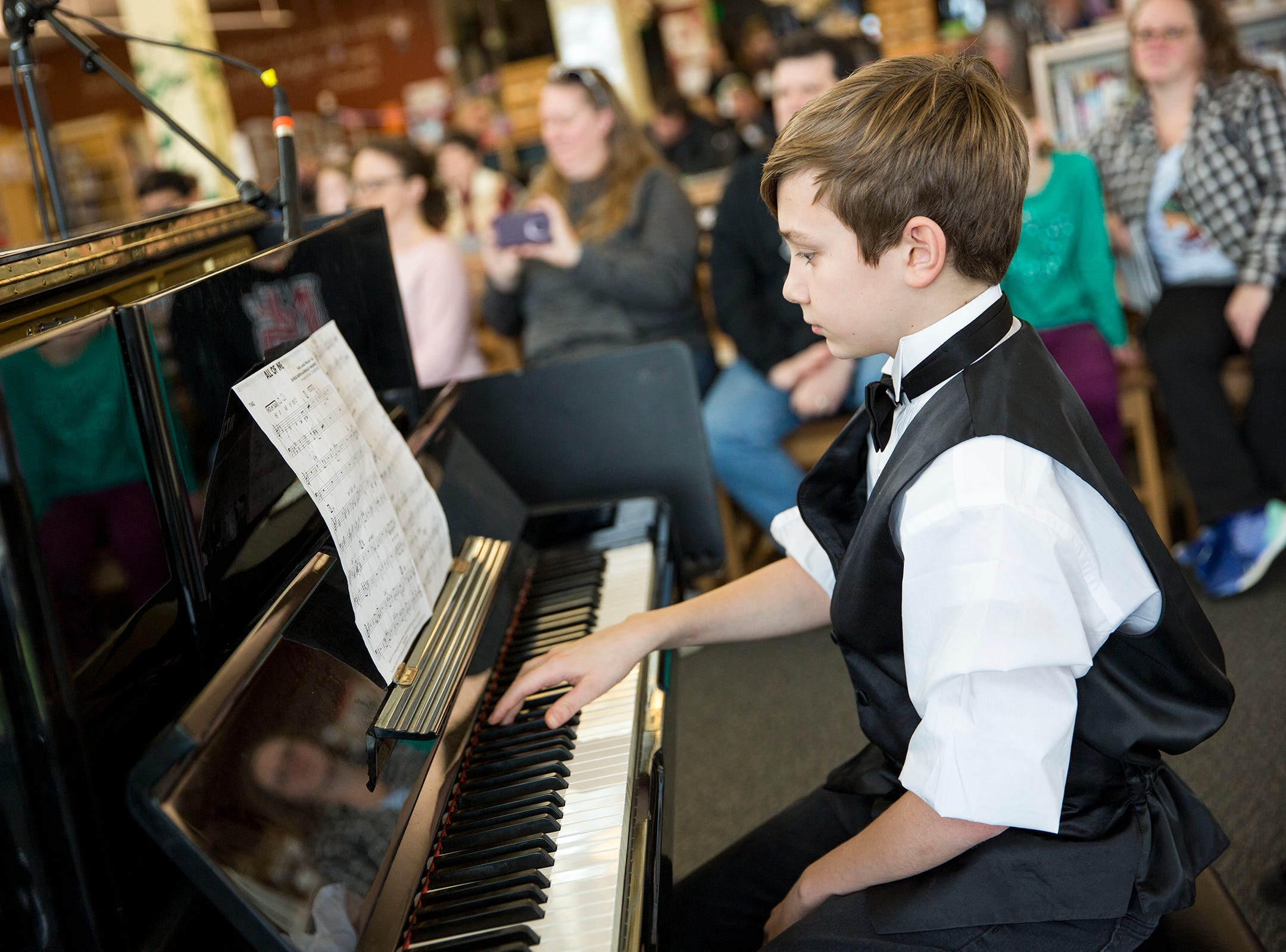 Parish Middle School student Justin Meyer performs at the annual West Salem Jazz Festival at West Salem High School on Saturday, Feb. 9, 2019.