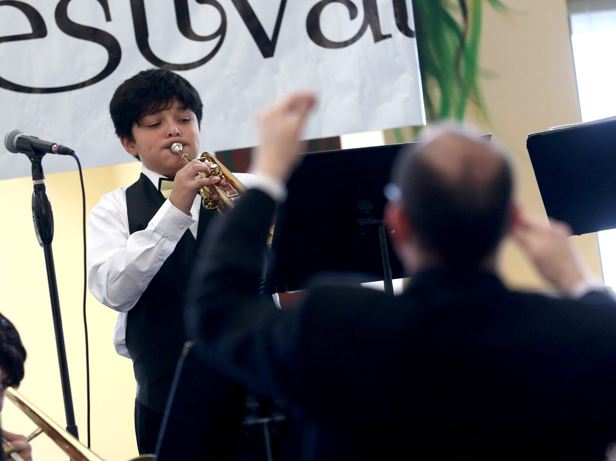 Waldo middle school seventh grade student Edgar Cardova performs at the annual West Salem Jazz Festival at West Salem High School on Saturday, Feb. 9, 2019.