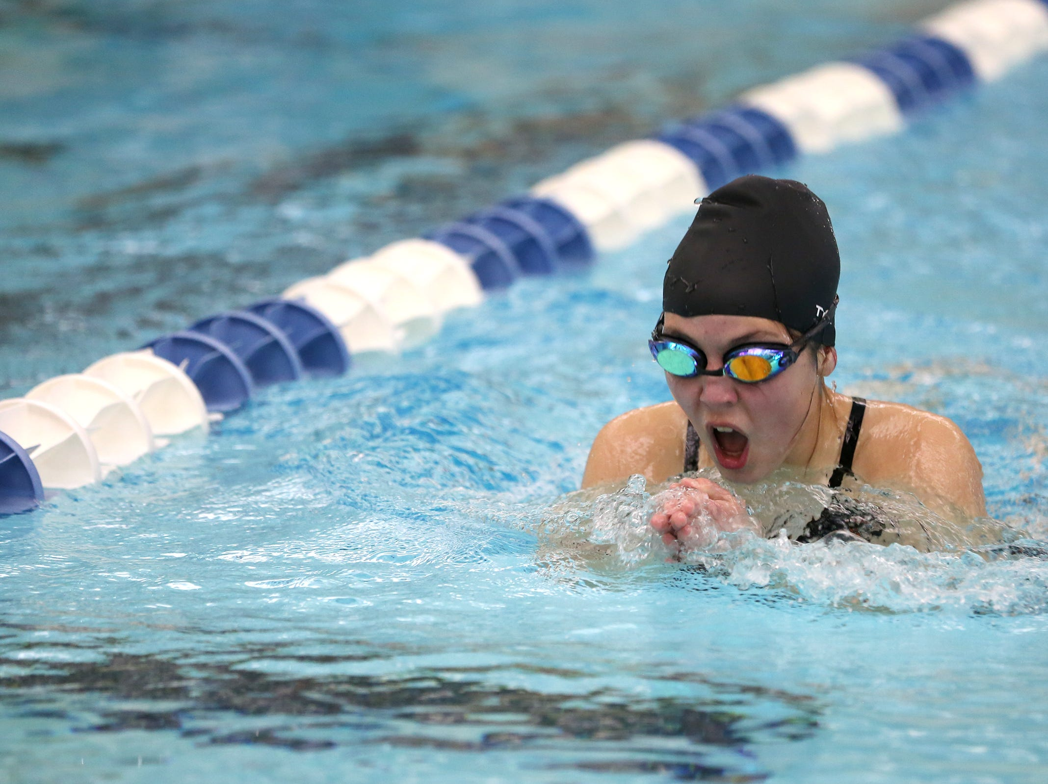 Sprague sophomore Maya Campbell competes in the girls 200-yard IM at the OSAA 6A Mountain Valley Conference swimming championships at the Kroc Center in Salem, Oregon on Friday, Feb. 8, 2019.