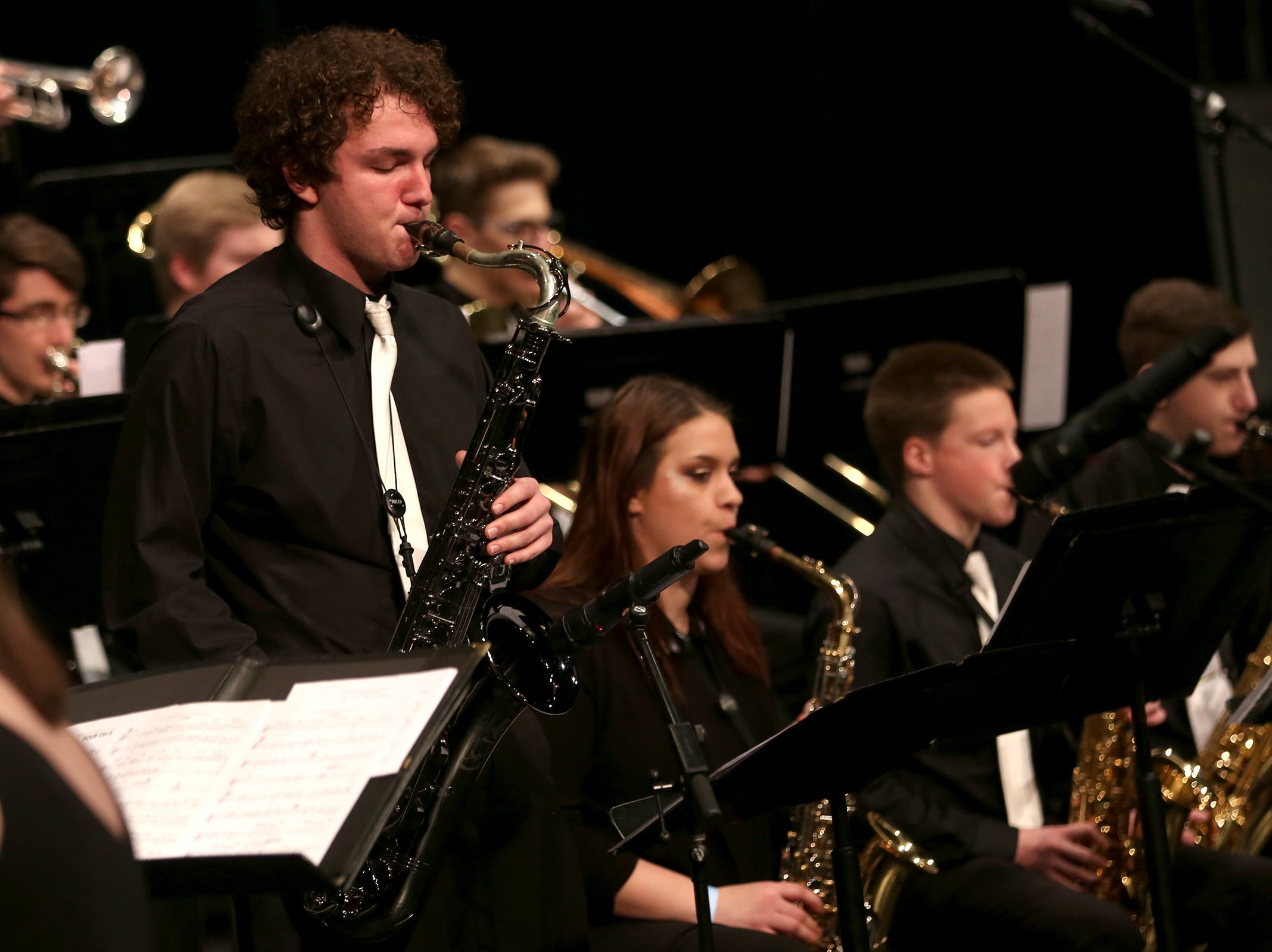 North Salem High School's jazz band performs at the annual West Salem Jazz Festival at West Salem High School on Saturday, Feb. 9, 2019.