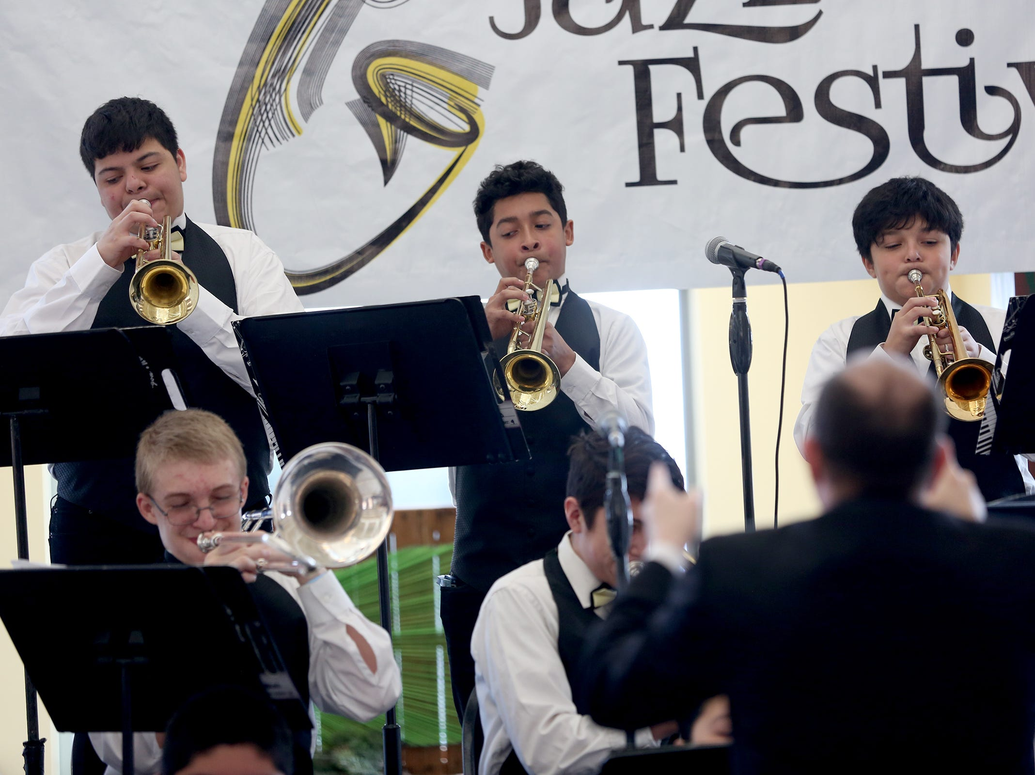 Waldo Middle School students, under the direction of Brett Randolph, perform at the annual West Salem Jazz Festival at West Salem High School on Saturday, Feb. 9, 2019.