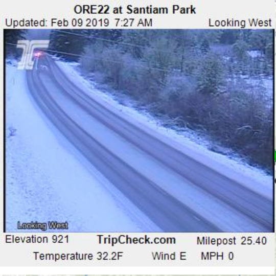 Snow fell in the Cascade Foothills east of Salem overnight.