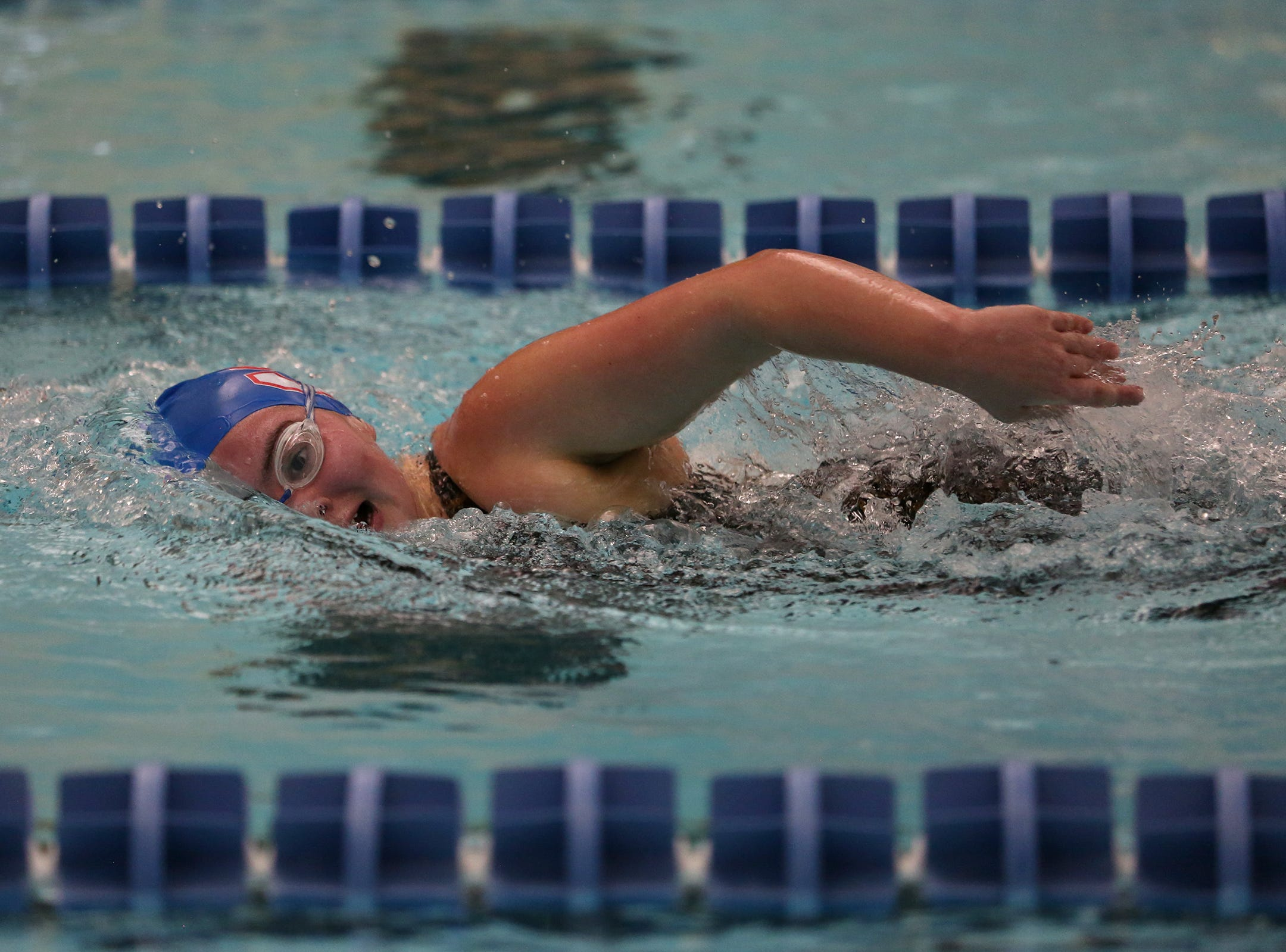 South Salem freshman Olivia Davis competes in the girls 500-yard freestyle at the OSAA 6A Mountain Valley Conference swimming championships at the Kroc Center in Salem, Oregon on Friday, Feb. 8, 2019.