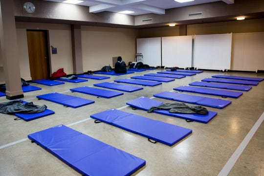 Cots are set up at First Presbyterian church in Salem on Friday, Feb. 8, 2019. Warming centers are open when temperatures fall under 32 degrees.