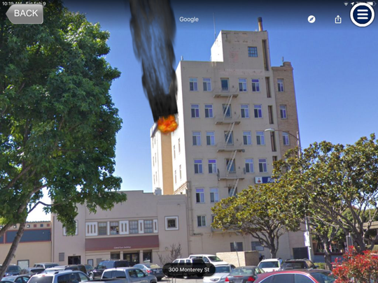 A screenshot of digital (fake) fire at the old Rabo Bank building, which was sent to firefighters by their training battalion chief during a training exercise Saturday.