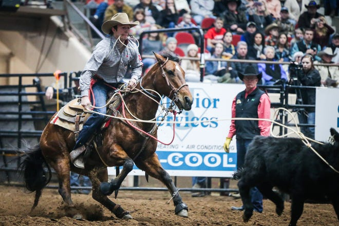 Ty Harris rides out to tie down a calf during the San Angelo Stock Show & Rodeo matinee show Saturday, Feb. 9, 2019, at Foster Communications Coliseum.
