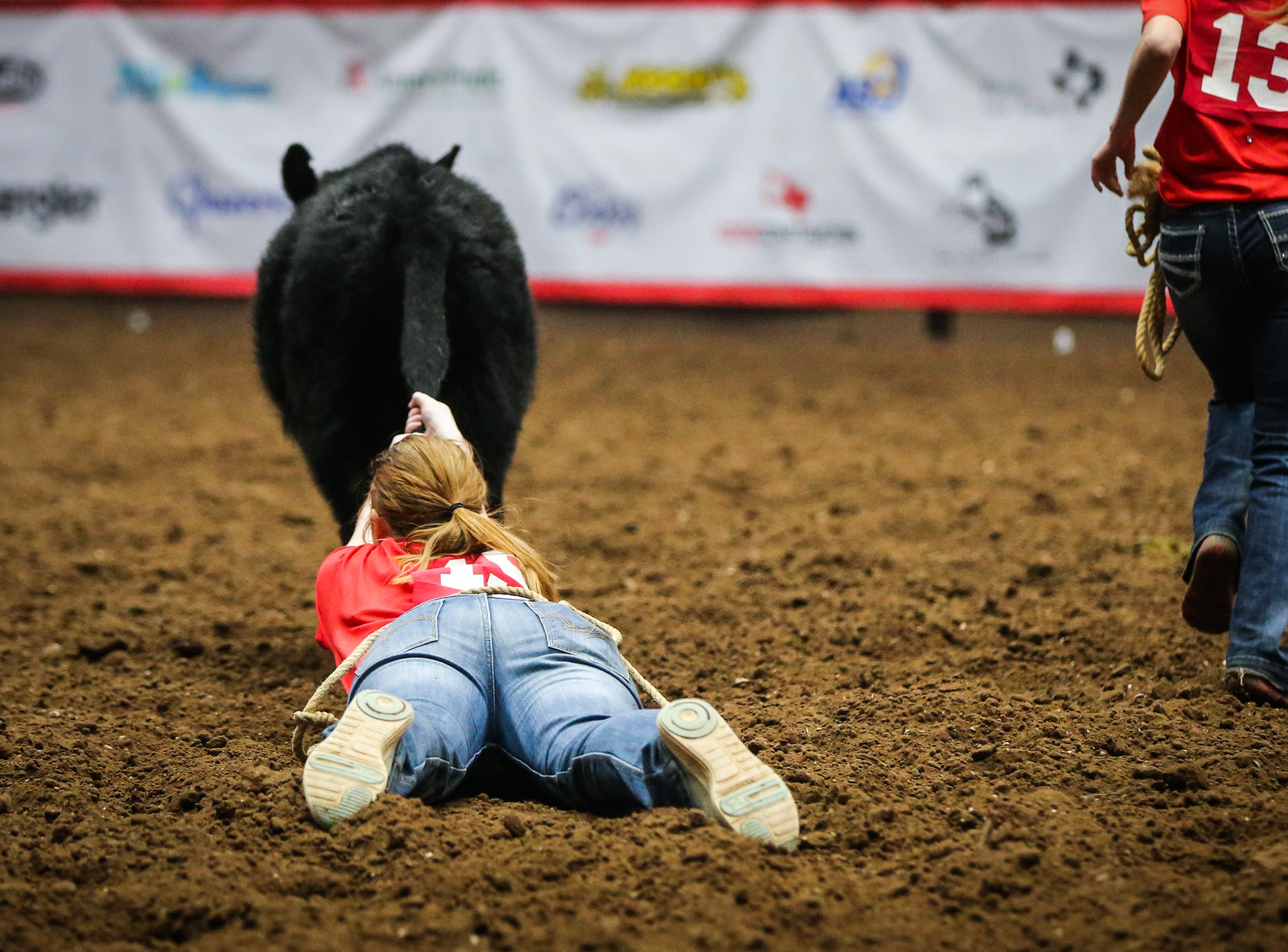 A girl is dragged behind a calf in the calf scramble during the San Angelo Stock Show & Rodeo matinee show Saturday, Feb. 9, 2019, at Foster Communications Coliseum.
