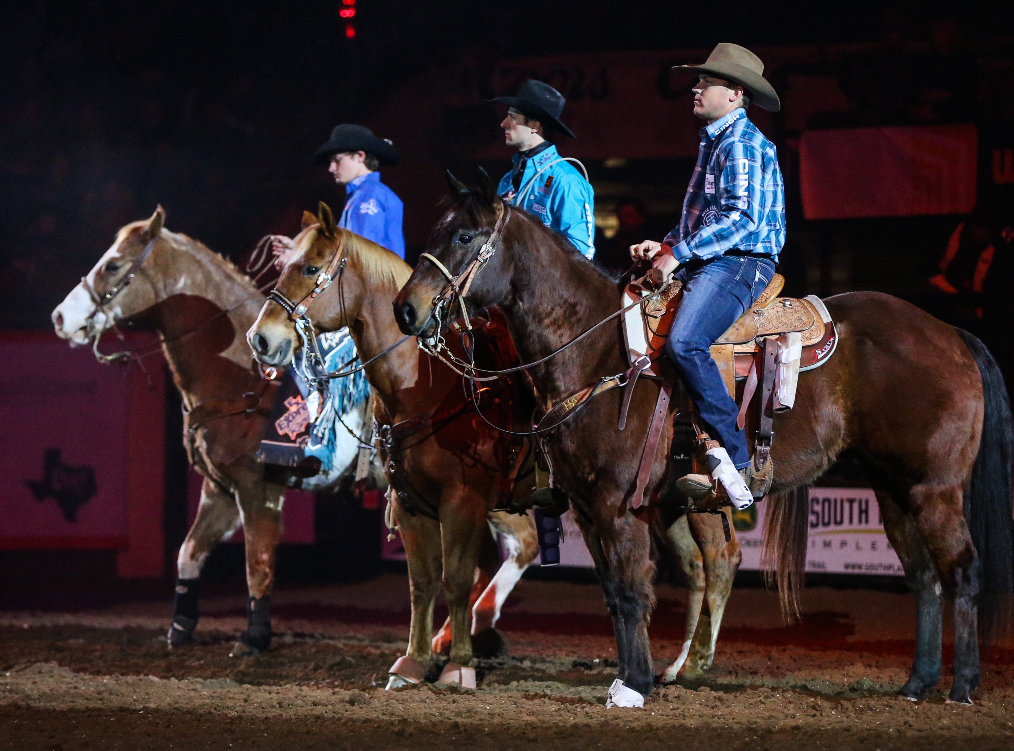 Rodeo participants are introduced to the audience before the 5th performance of the San Angelo Stock Show & Rodeo Friday, Feb. 8, 2019, at Foster Communications Coliseum.
