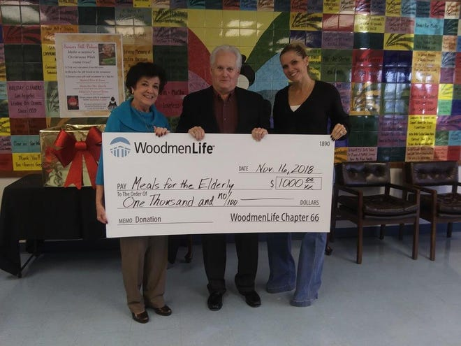 San Angelo's Meals For The Elderly received a $1000 donation from WoodmenLife's local Chapter 66. Presenting the check was Tommy Wood, center, WoodmenLife Financial Representative, Charlyn Ocker, left, President & CEO, and Dannielle Dunagan, right, Marketing & Event Director.