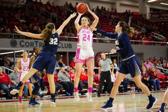 South Dakota guard Ciara Duffy shoots a 3-pointer against Oral Roberts on Saturday, Feb. 9, 2019.