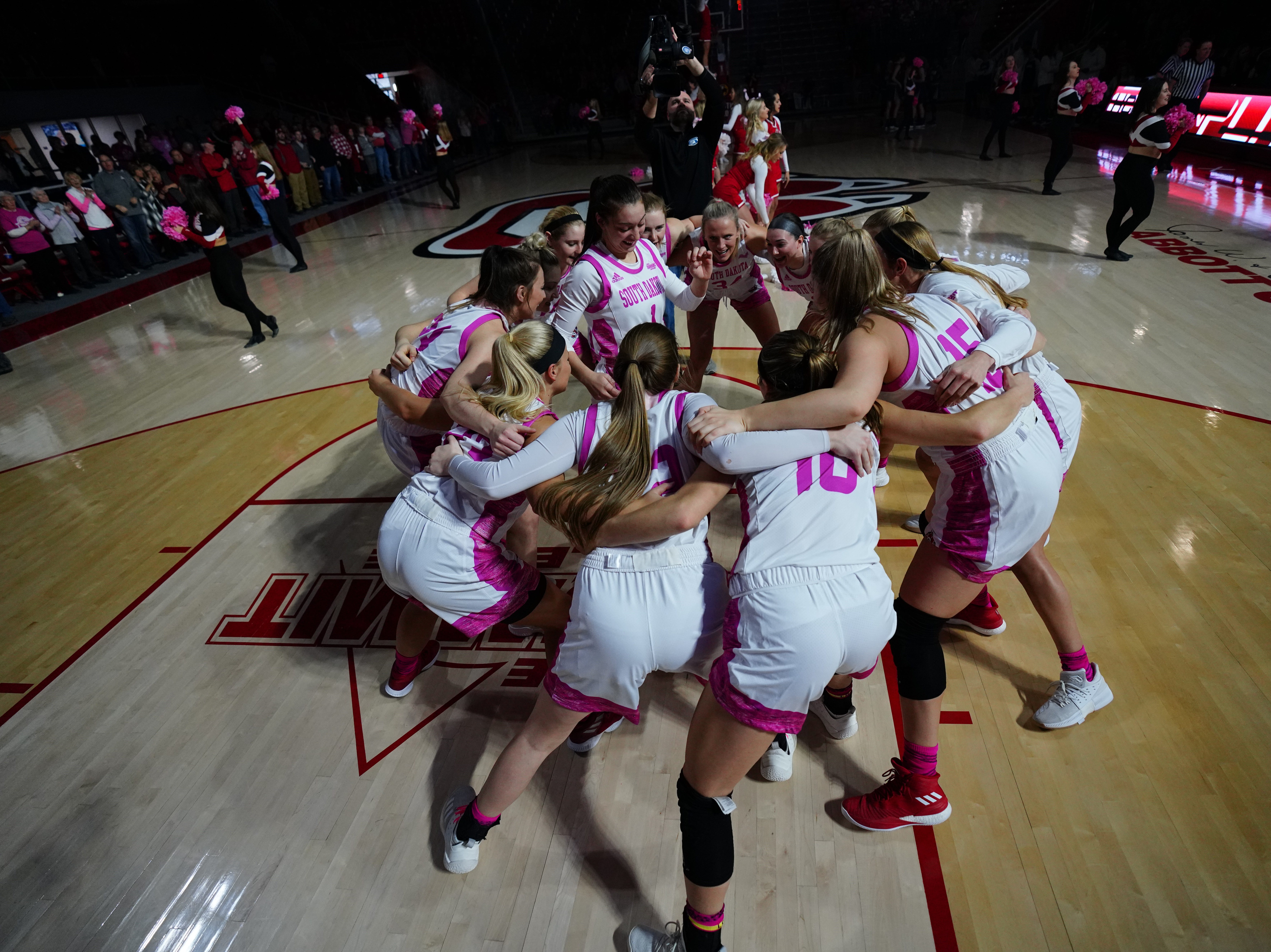The South Dakota women's basketball team ahead of their game against Oral Roberts on Saturday, Feb. 9, 2019.