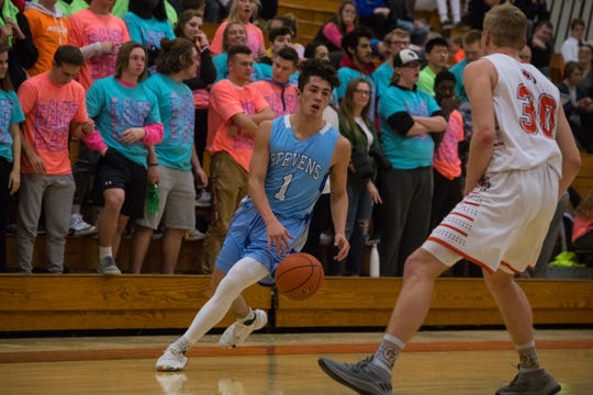 Rapid City Stevens' Dylan Pourier (1) dribbles the ball past Washington's Gabe Person (30) during a game in Sioux Falls, S.D., Friday, Feb. 8, 2019.
