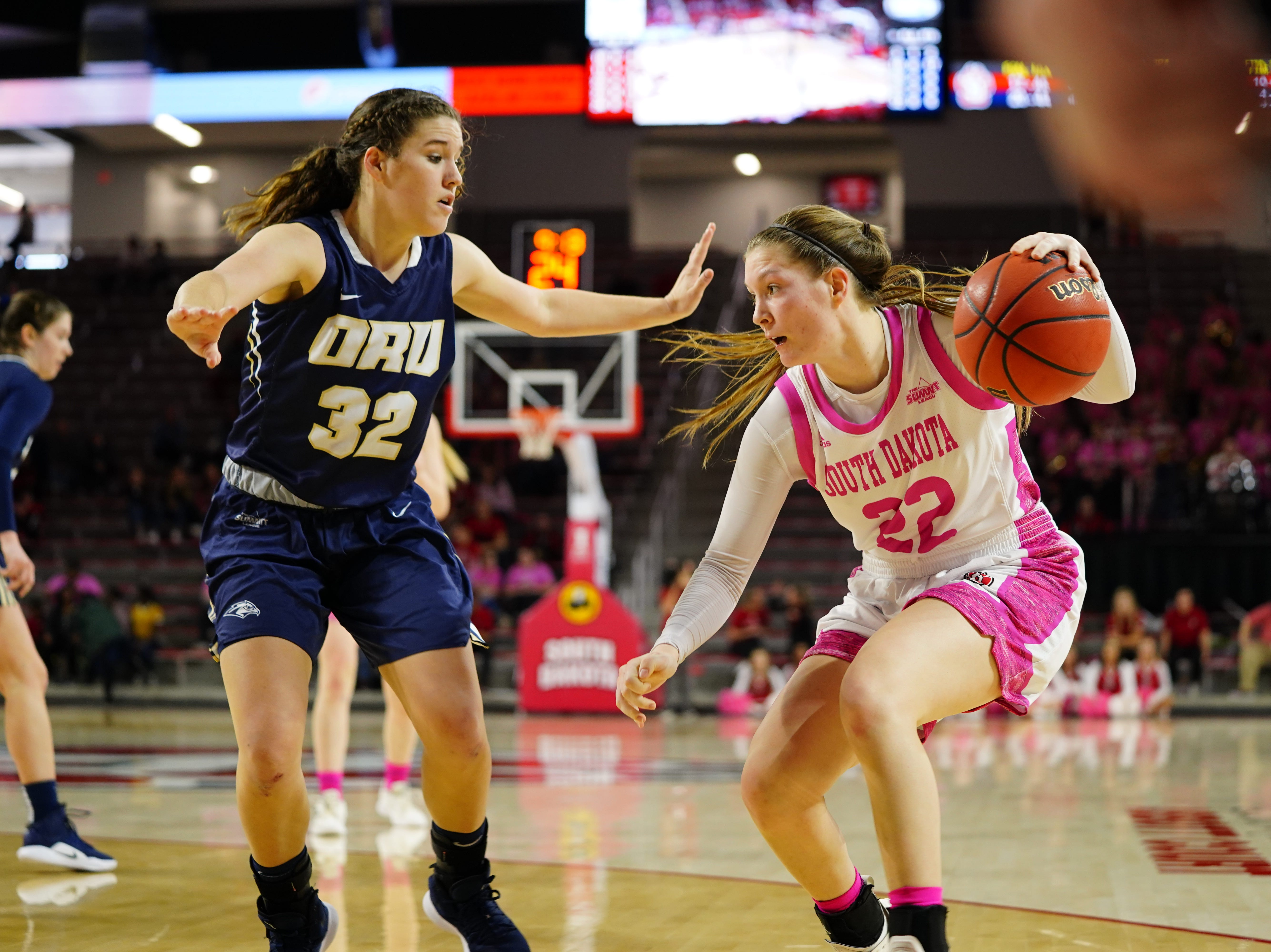 South Dakota guard Chloe Lamb tries to get around a defender against Oral Roberts on Saturday, Feb. 9, 2019.